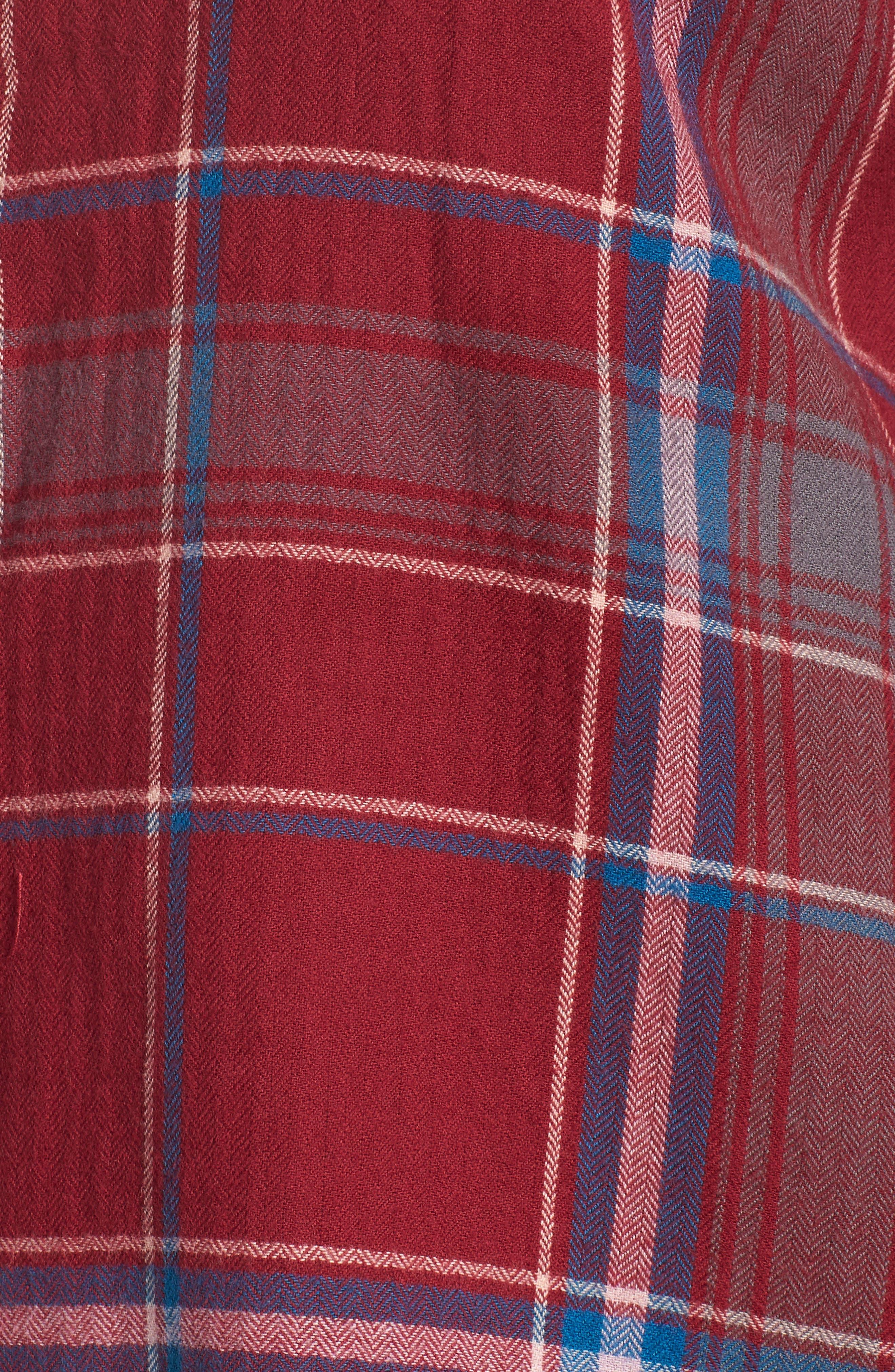 Frayed Edge Plaid Shirt,                             Alternate thumbnail 12, color,                             RED RUMBA NICOLE PLAID