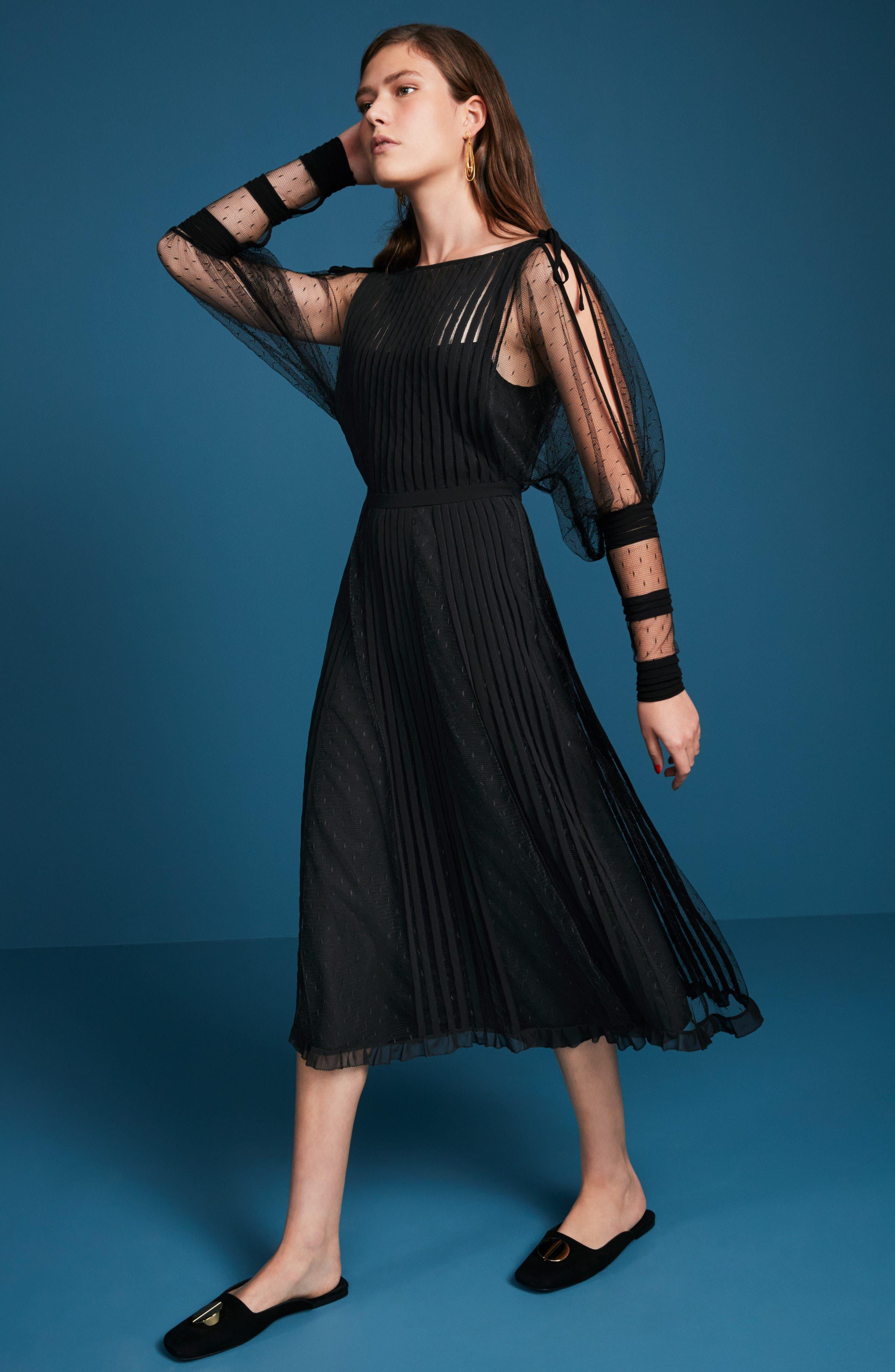 Point d'Esprit & Georgette Midi Dress,                             Alternate thumbnail 8, color,