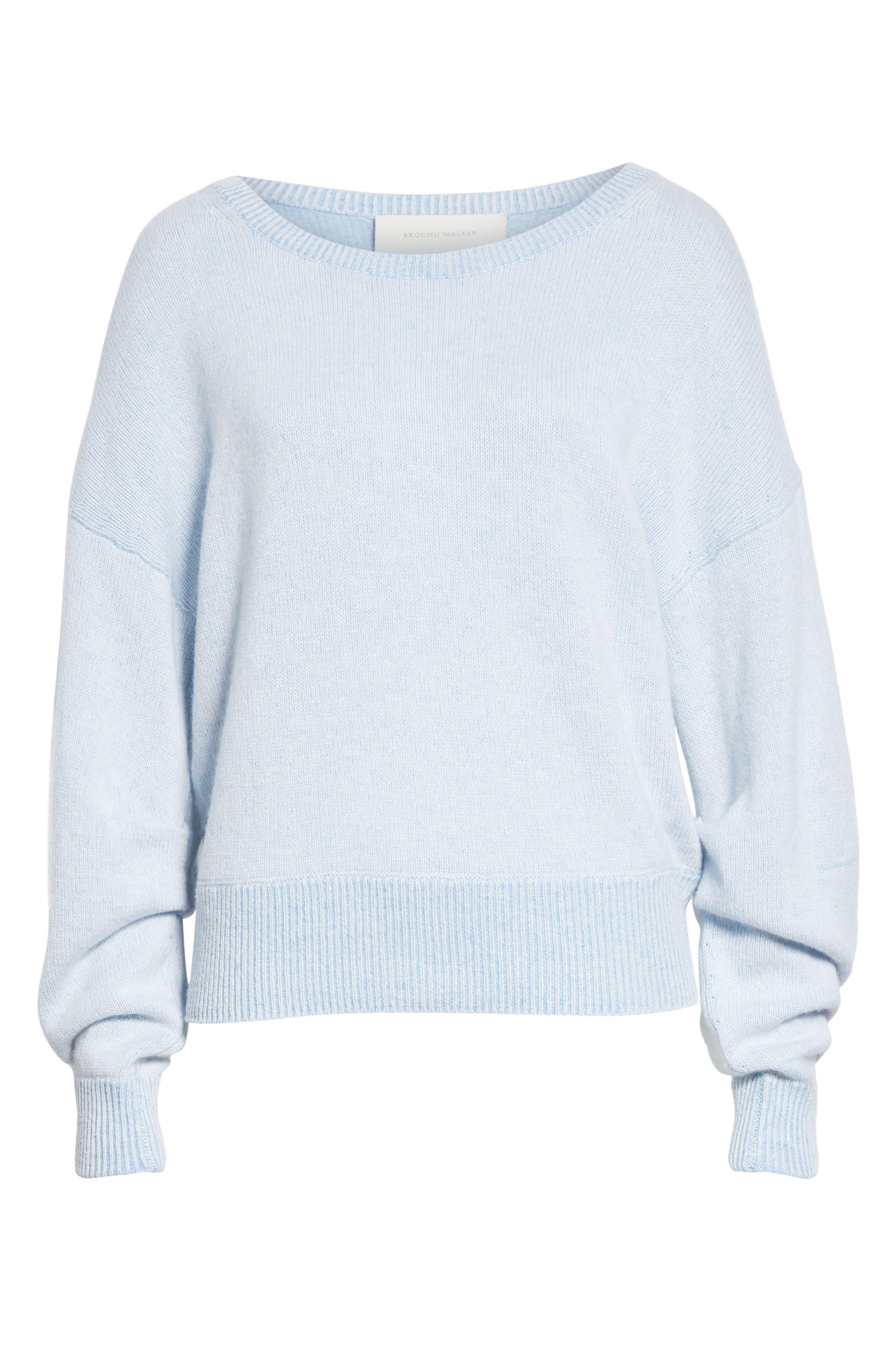 Alta Cashmere Sweater,                             Alternate thumbnail 6, color,                             SKYLAR BLUE COMBO