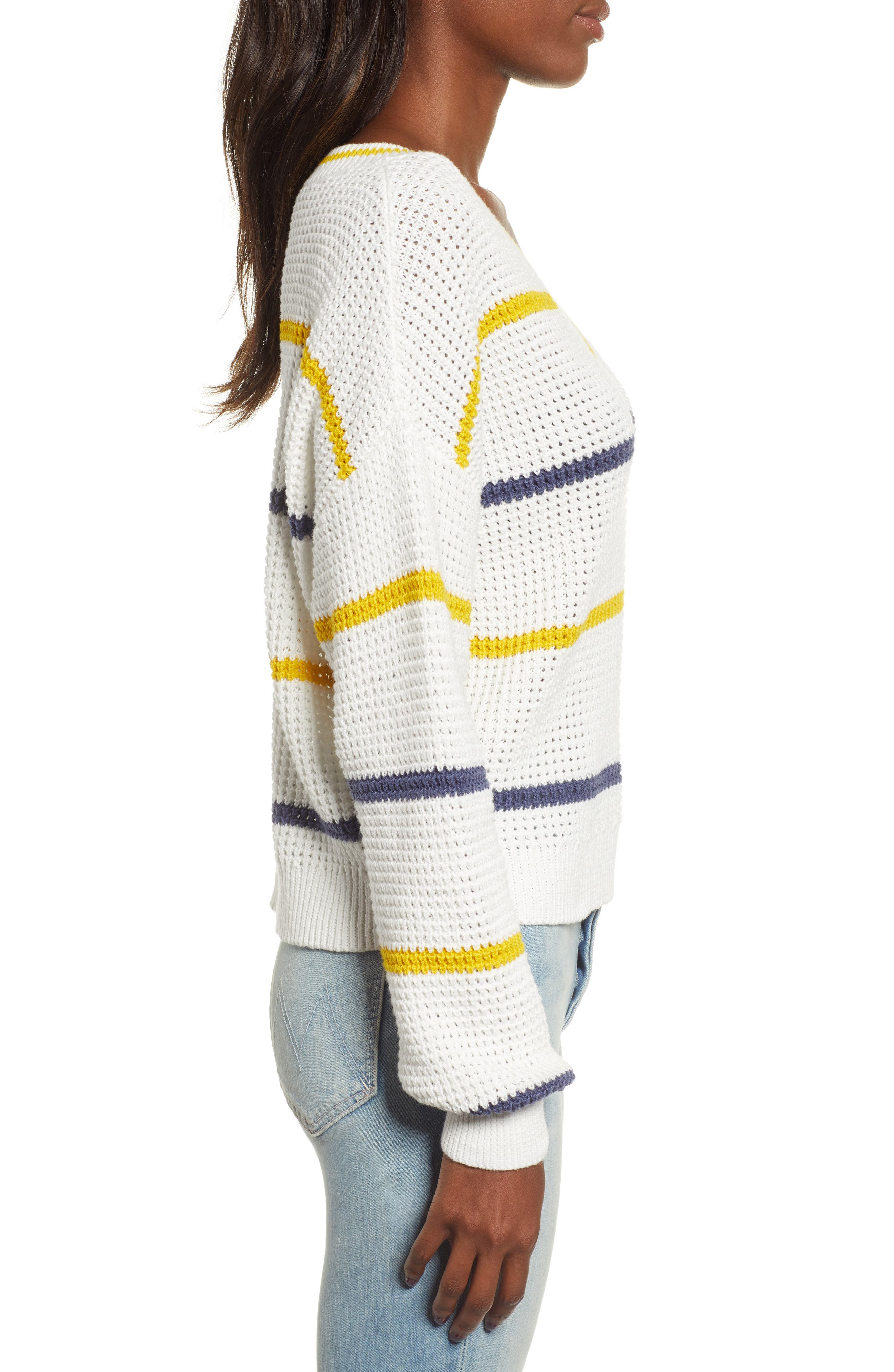 BP.,                             Stripe Cotton Thermal Sweater,                             Alternate thumbnail 4, color,                             IVORY SEA STRIPE