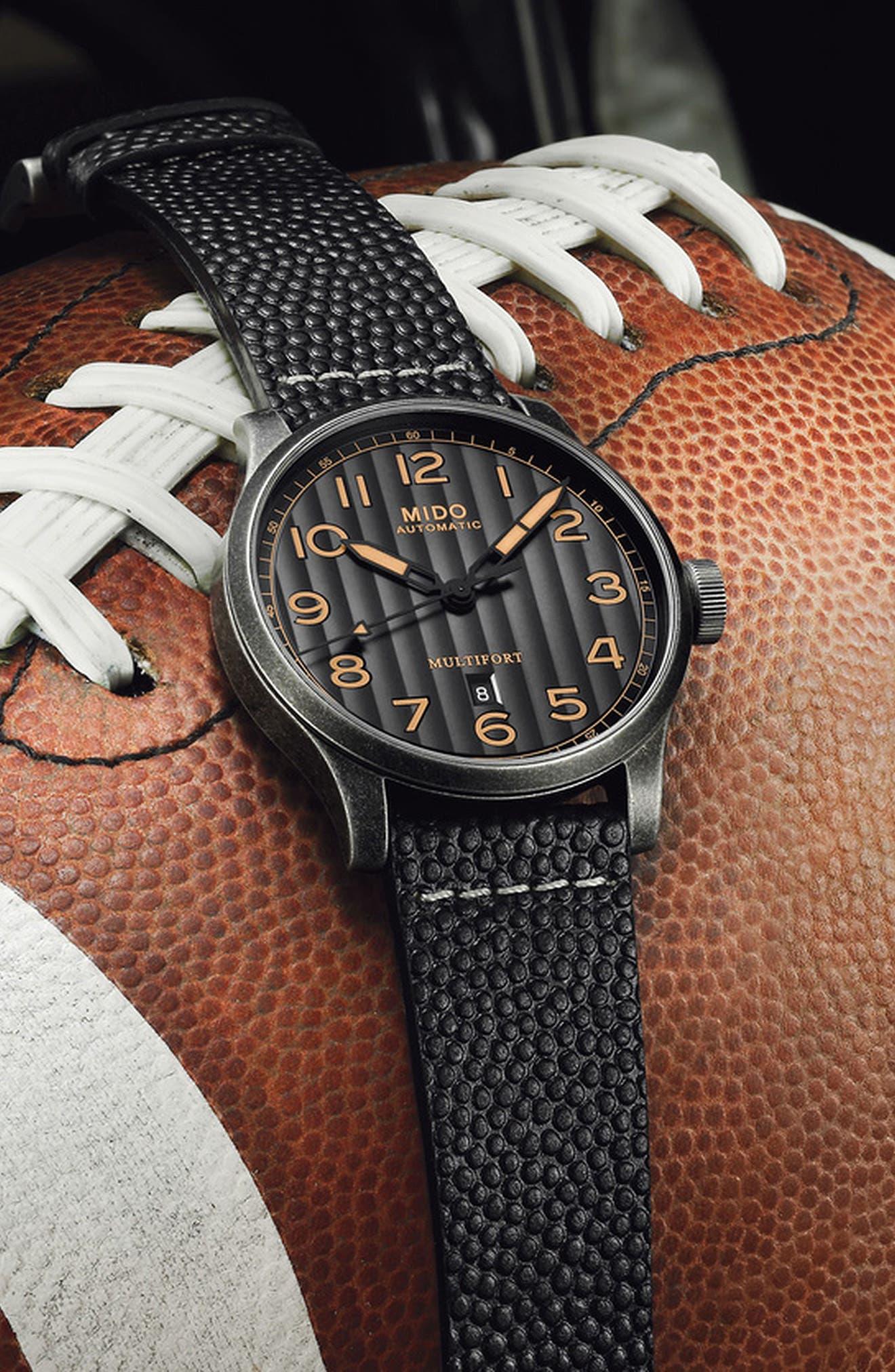 Multifort Escape Leather Strap Watch, 44mm,                             Alternate thumbnail 8, color,