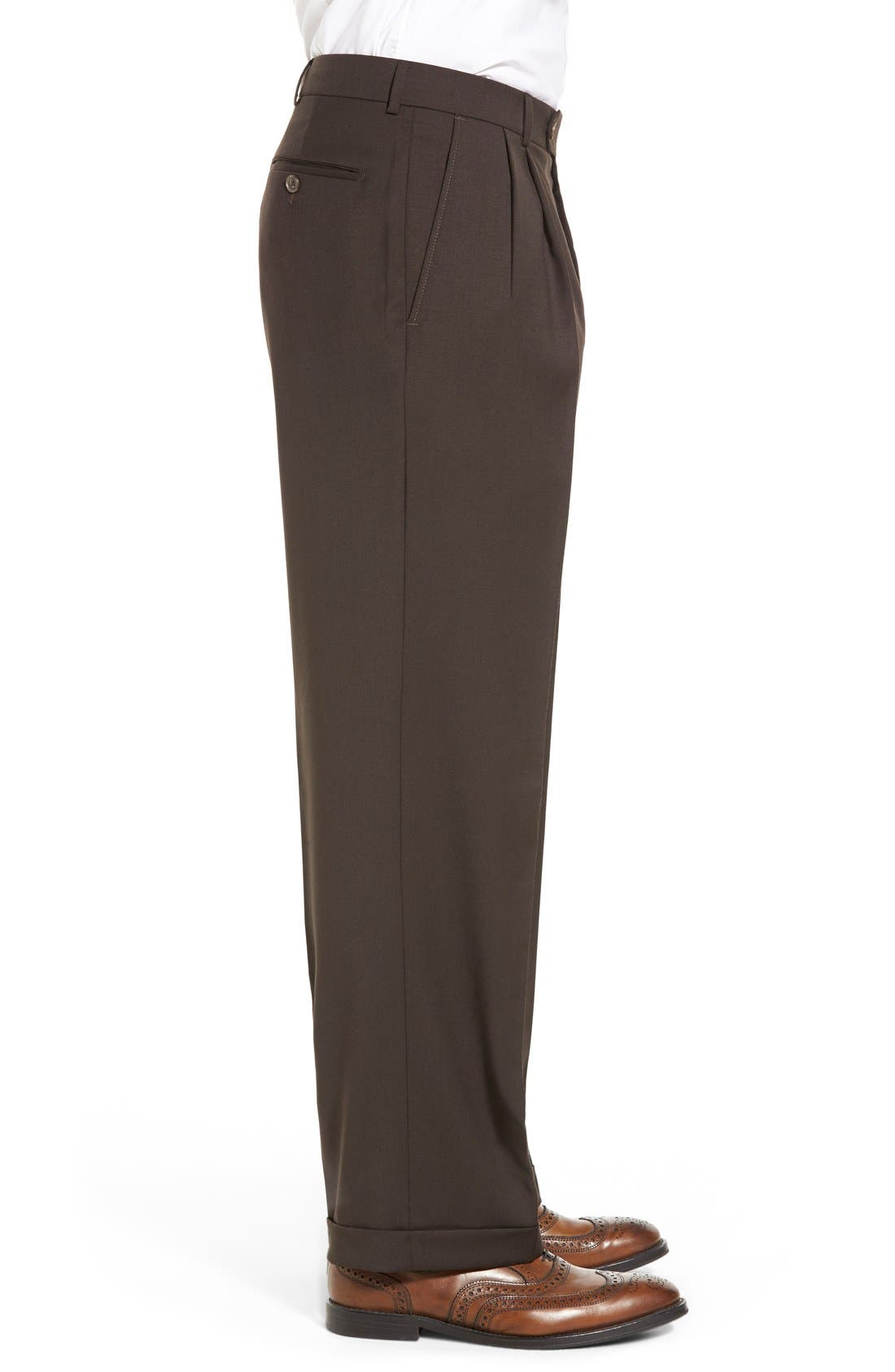 Pleated Solid Wool Trousers,                             Alternate thumbnail 33, color,