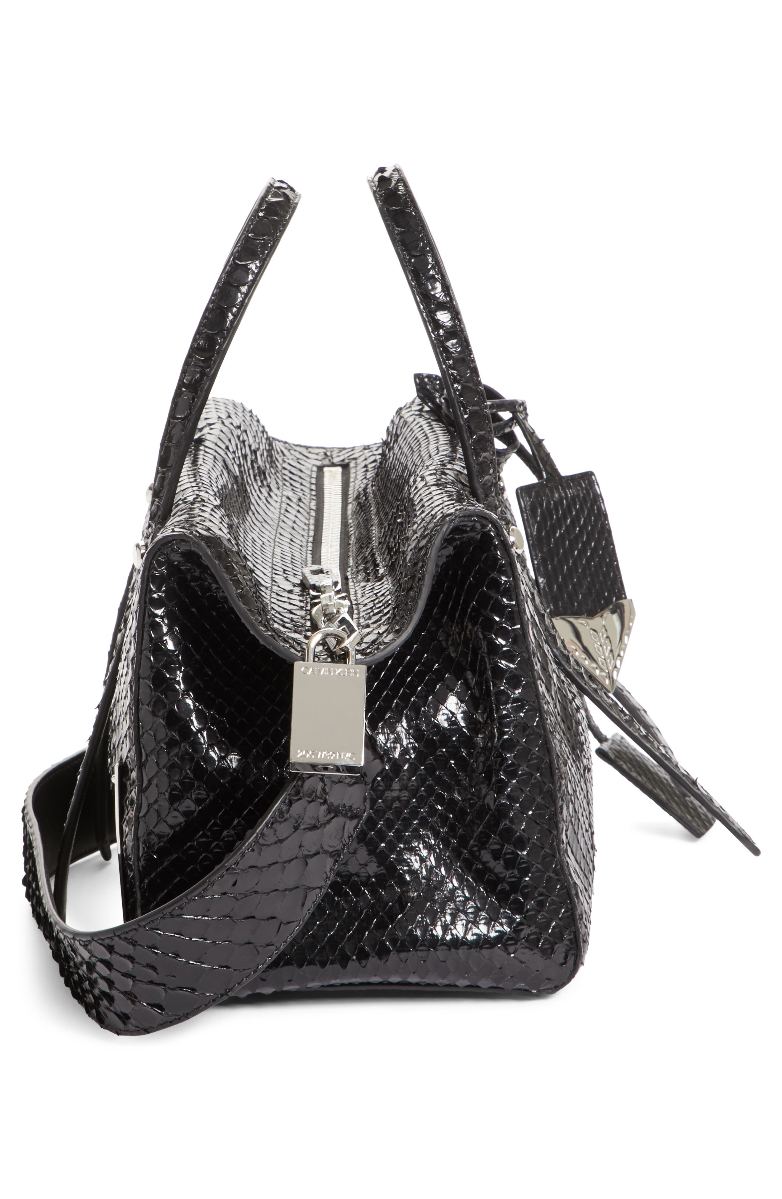 Calvin Klein 205W395NYC Small Genuine Python Satchel,                             Alternate thumbnail 5, color,                             001