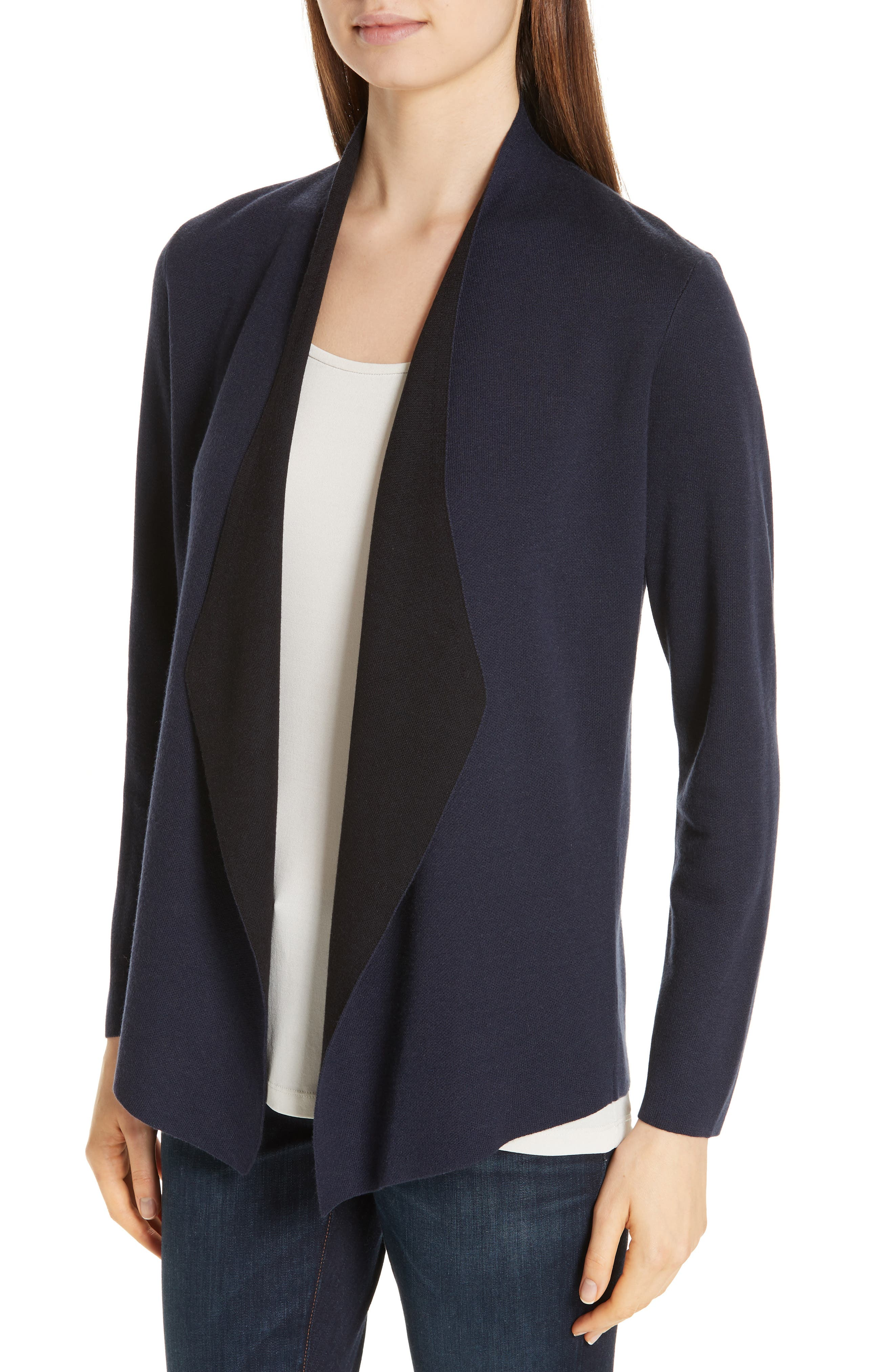 EILEEN FISHER,                             Shaped Waterfall Cardigan,                             Alternate thumbnail 4, color,                             MIDNIGHT