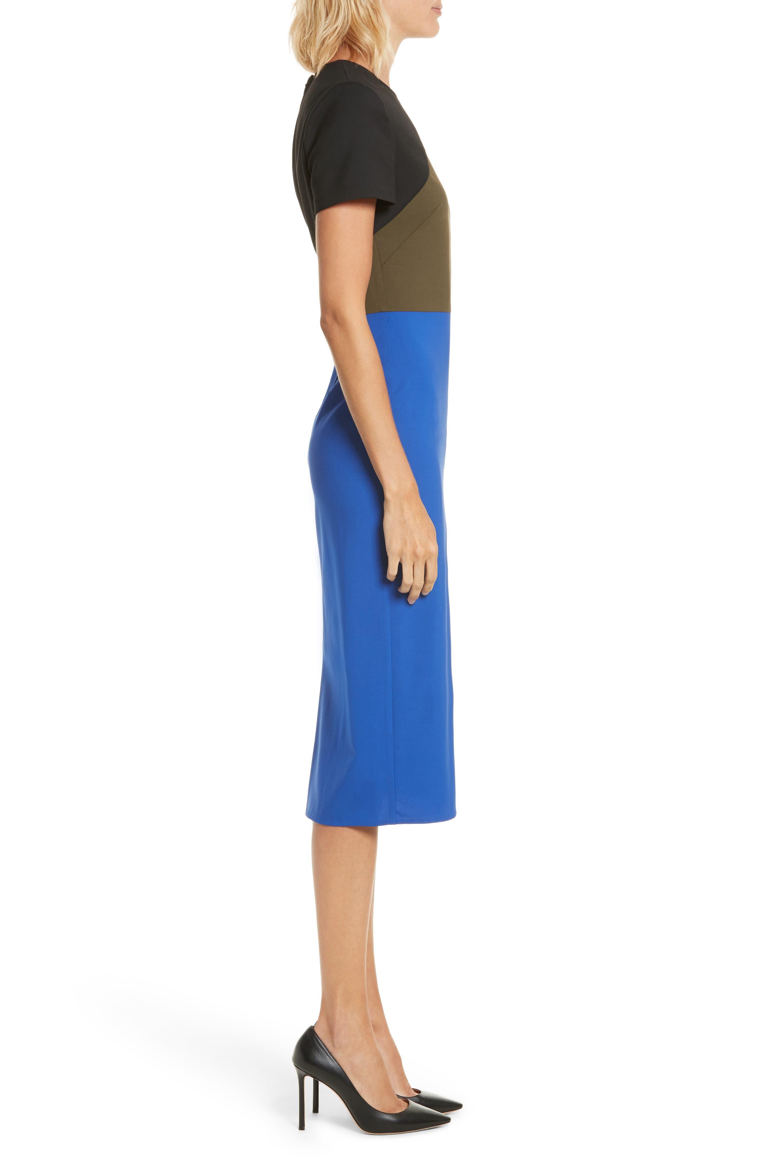 Colorblock Tailored Midi Dress,                             Alternate thumbnail 3, color,