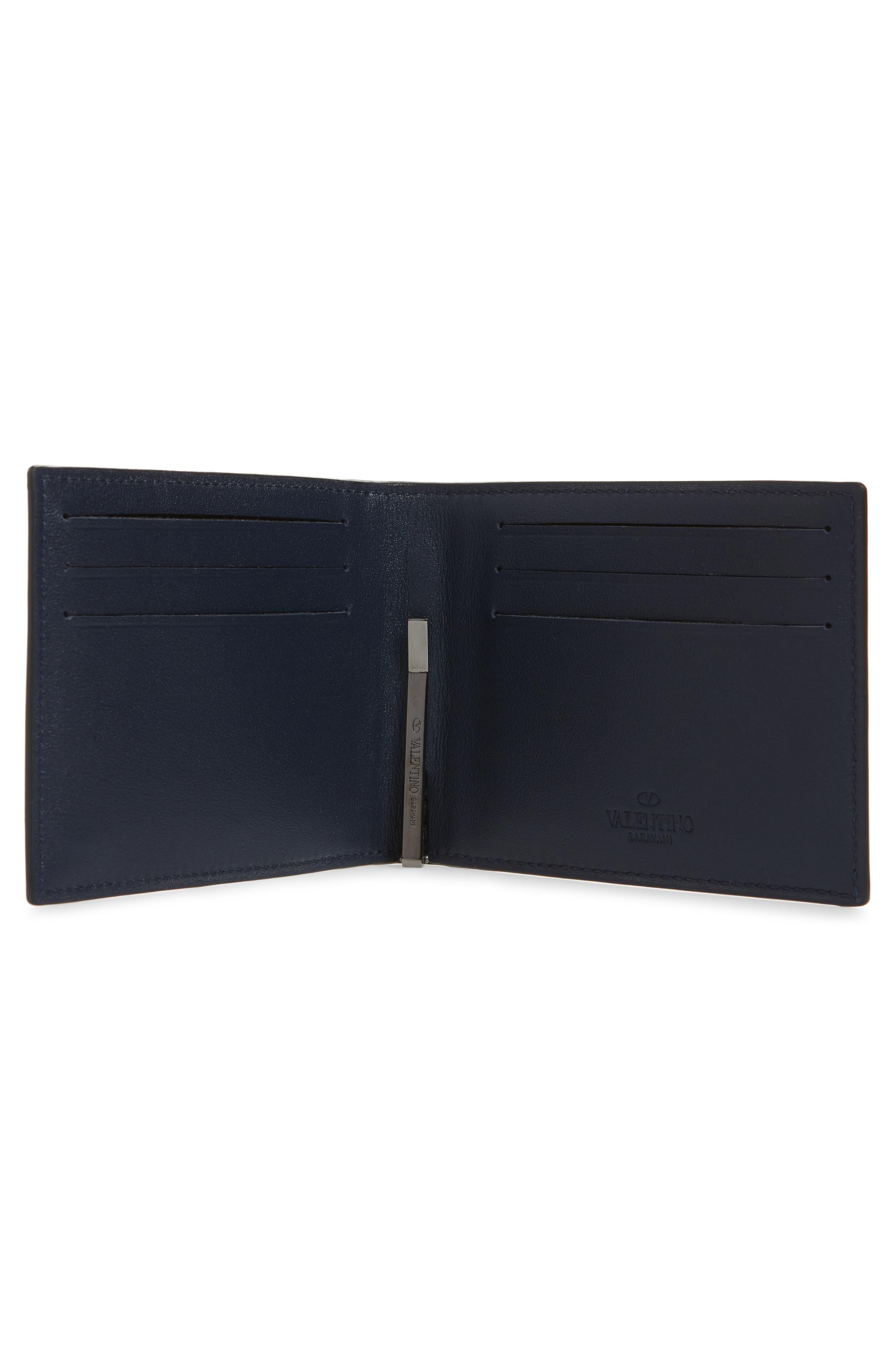 GARAVANI Stud Leather Money Clip Card Case,                             Alternate thumbnail 2, color,                             MARINE