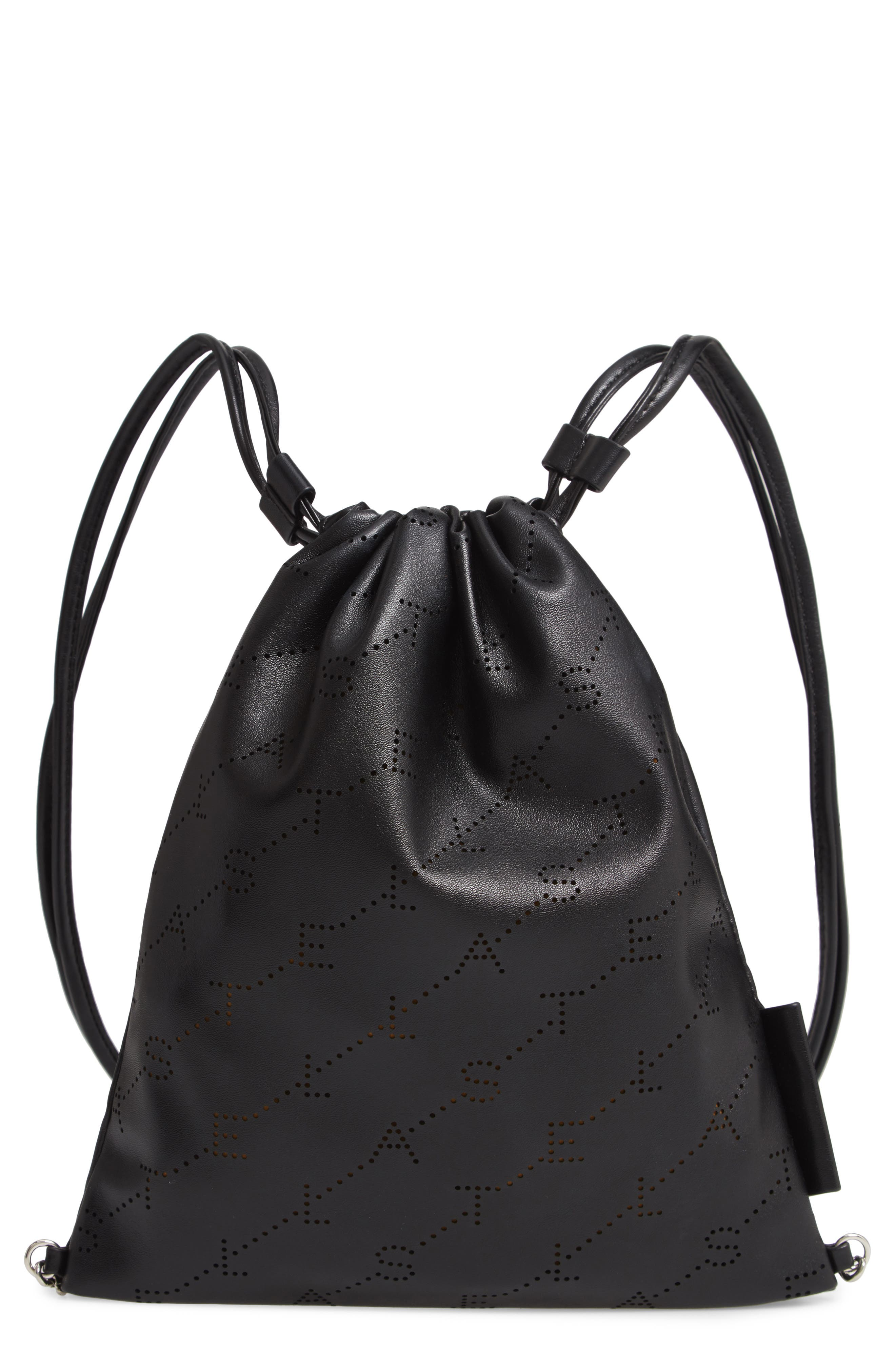 STELLA MCCARTNEY Perforated Logo Mini Faux Leather Drawstring Backpack, Main, color, BLACK