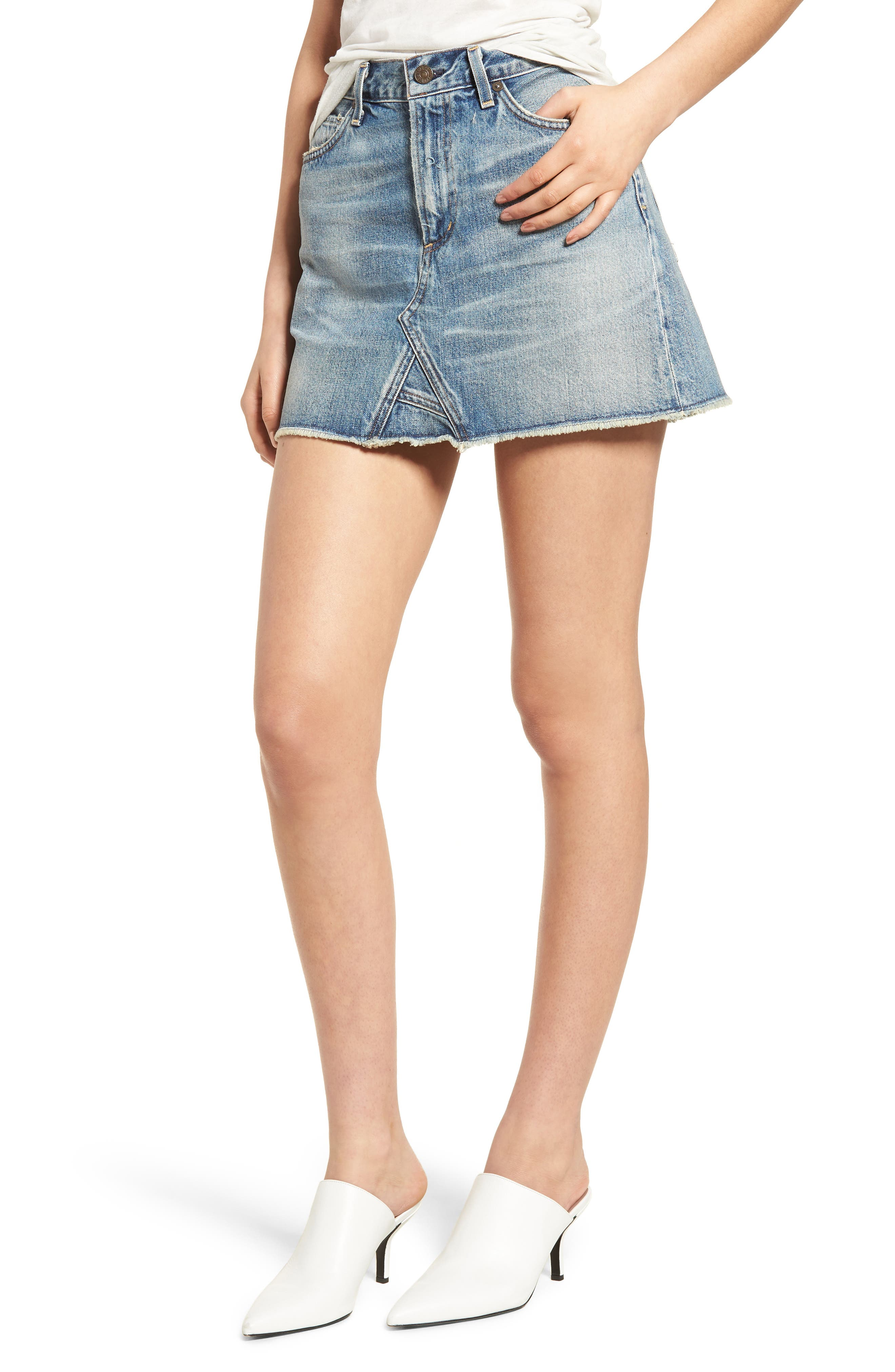 Cutoff Denim Miniskirt,                         Main,                         color, 427