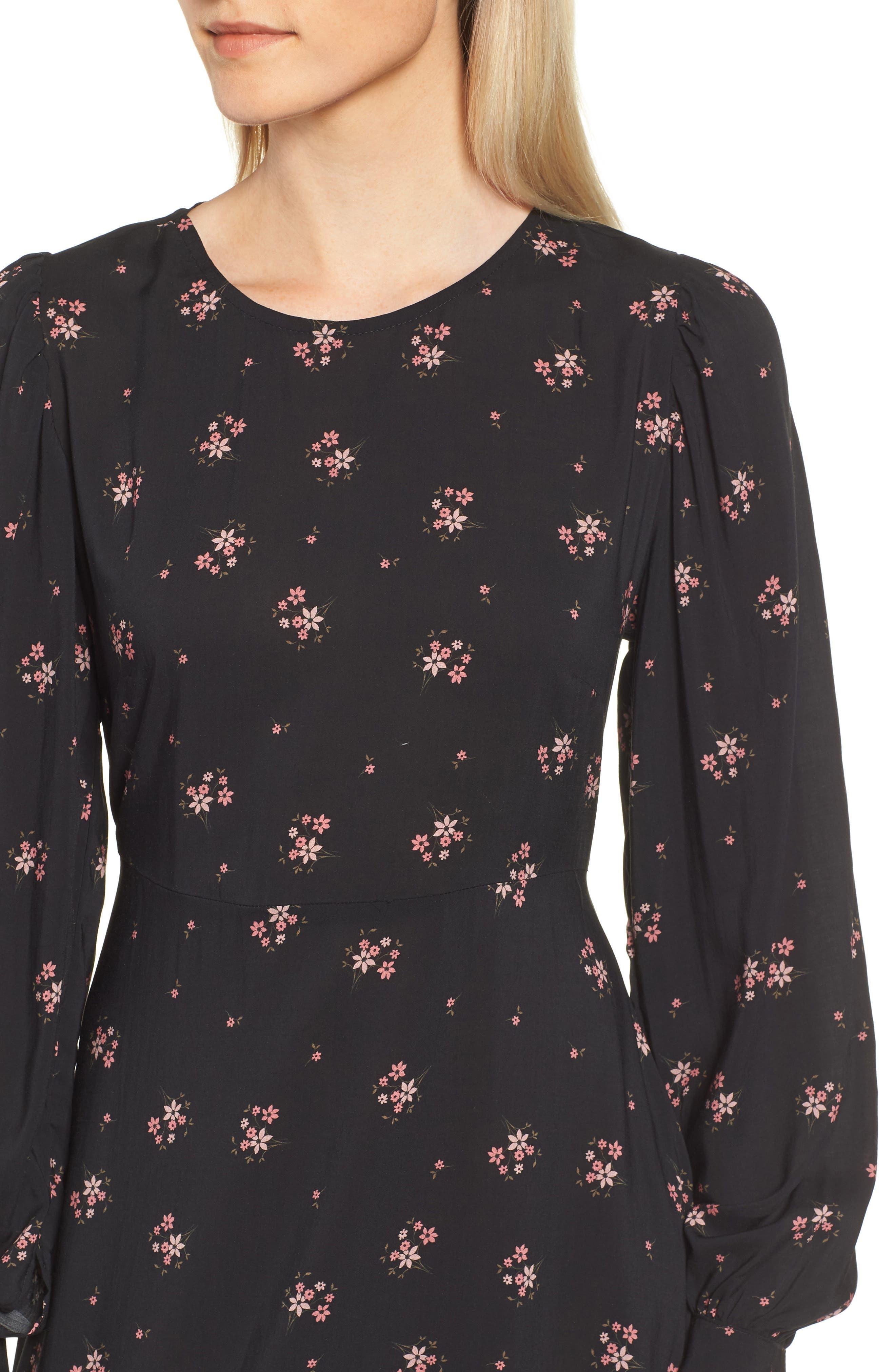 Floral Blouson Sleeve Dress,                             Alternate thumbnail 4, color,                             CAMELLIA