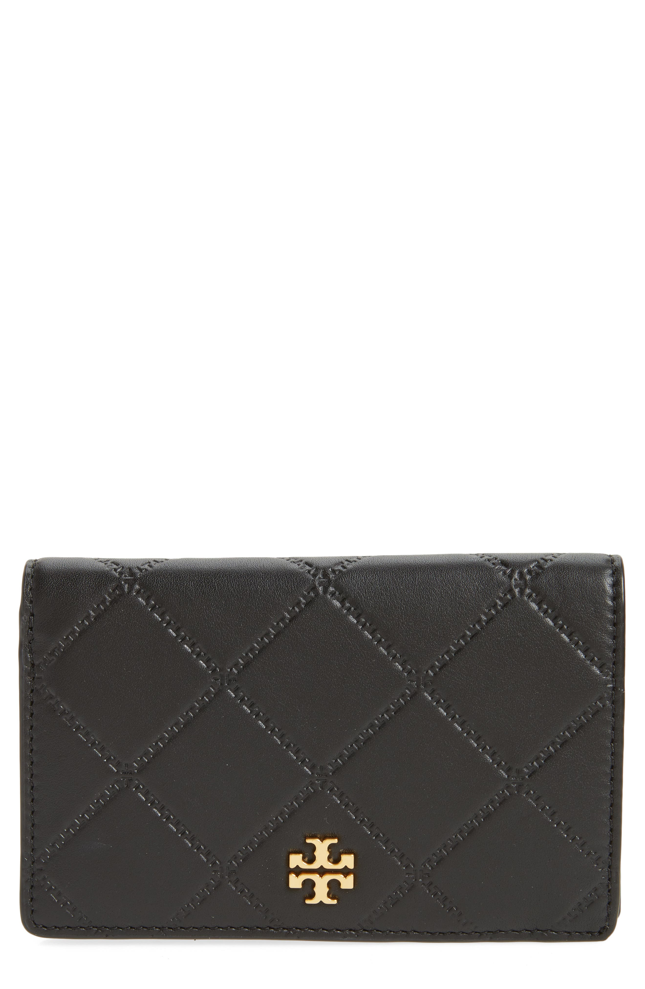 Medium Georgia Slim Leather Wallet,                             Main thumbnail 1, color,                             001