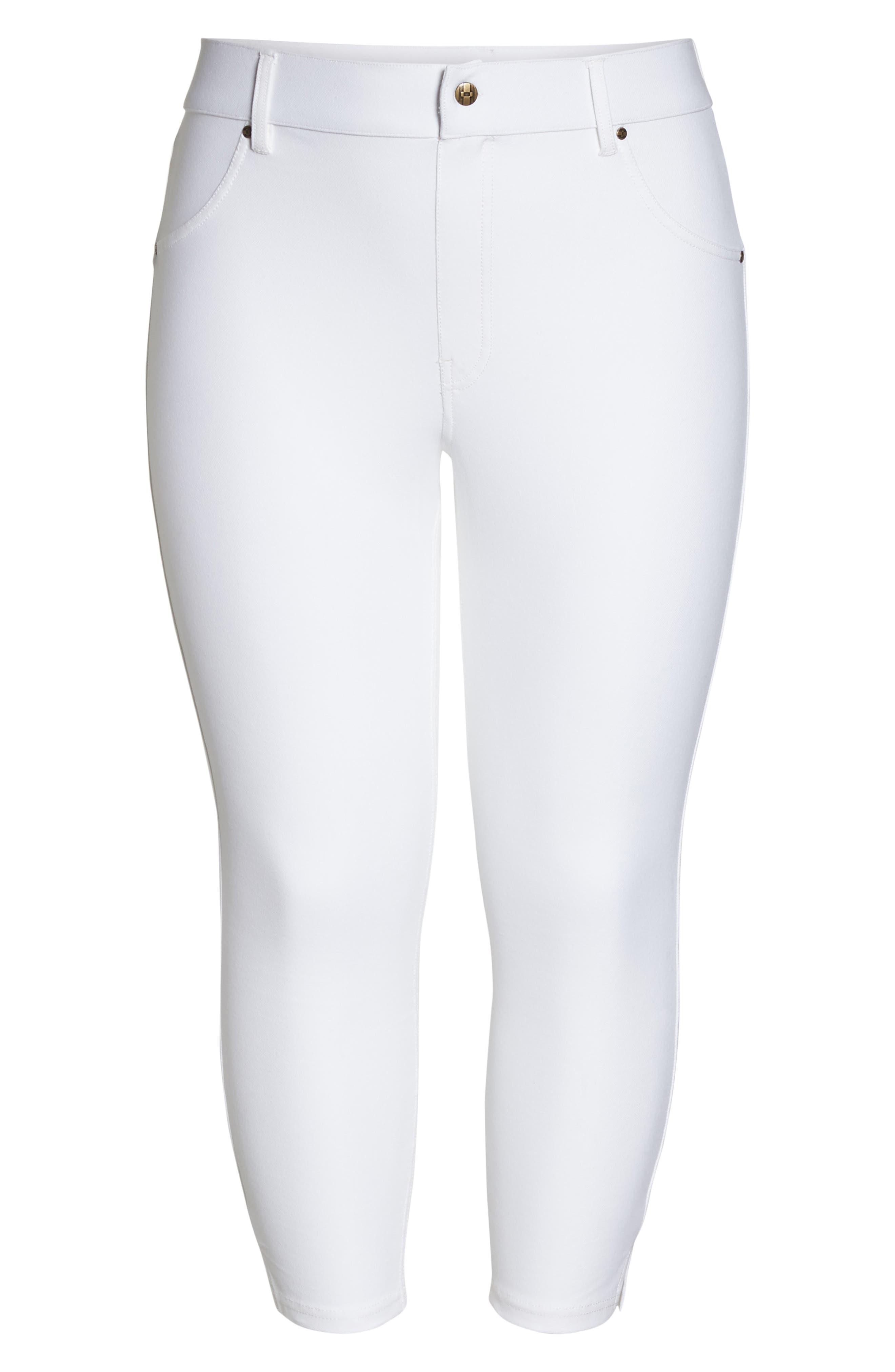Ankle Slit Crop Denim Leggings,                             Alternate thumbnail 6, color,                             WHITE
