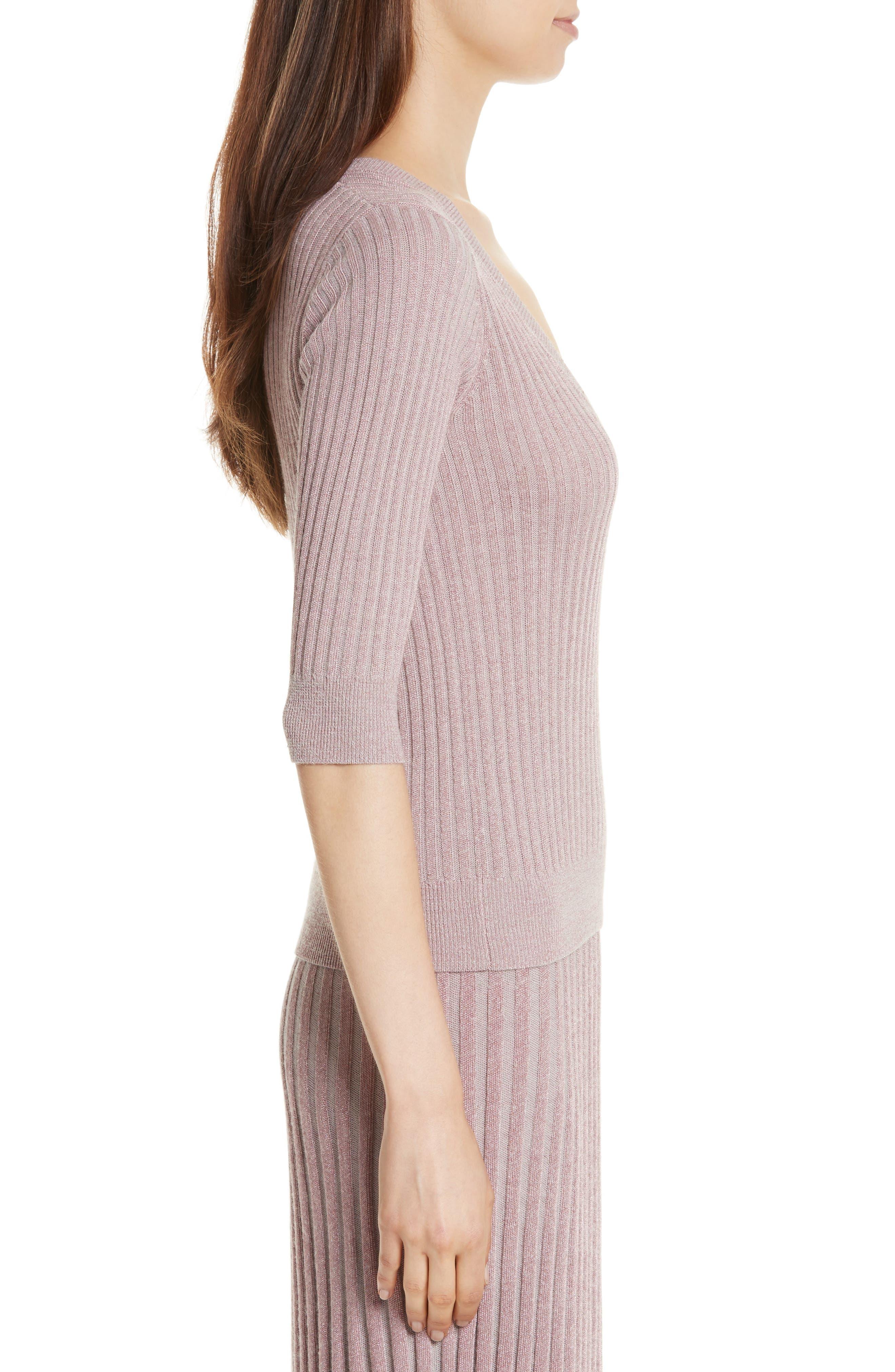 Metallic Rib Sweater,                             Alternate thumbnail 3, color,                             658