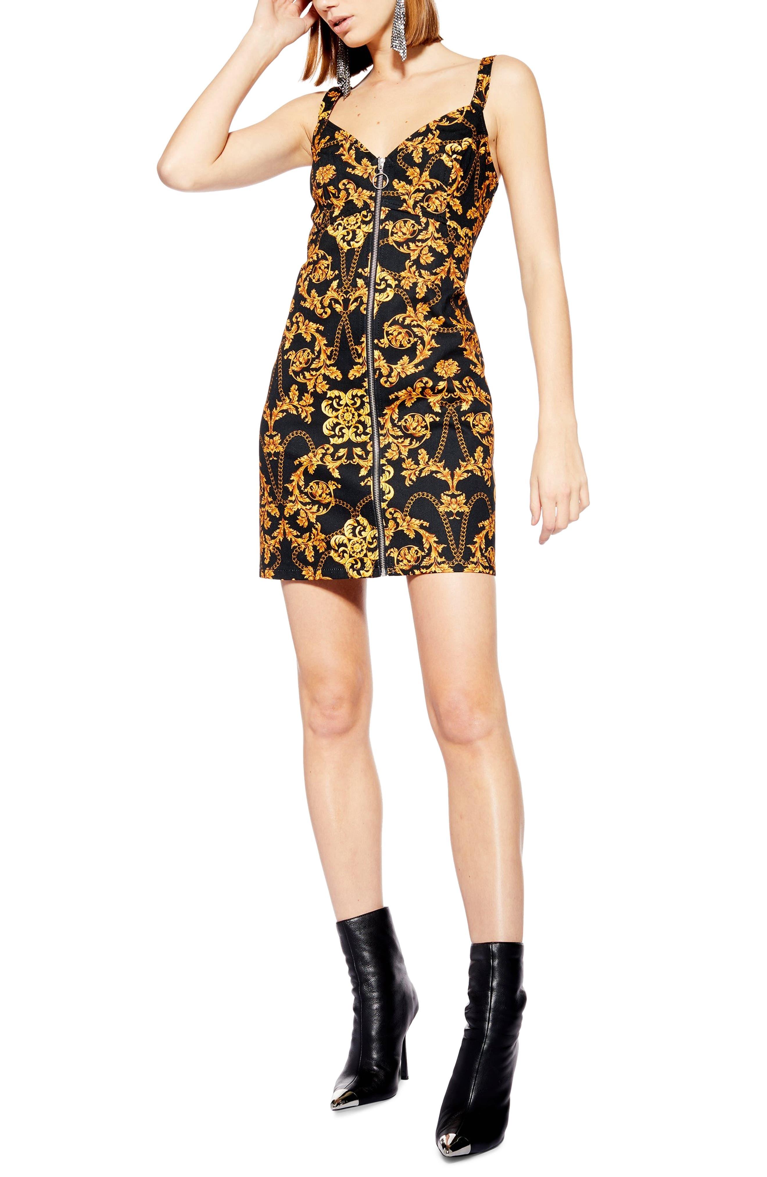 Topshop Chain Print Denim Dress, US (fits like 0) - Black