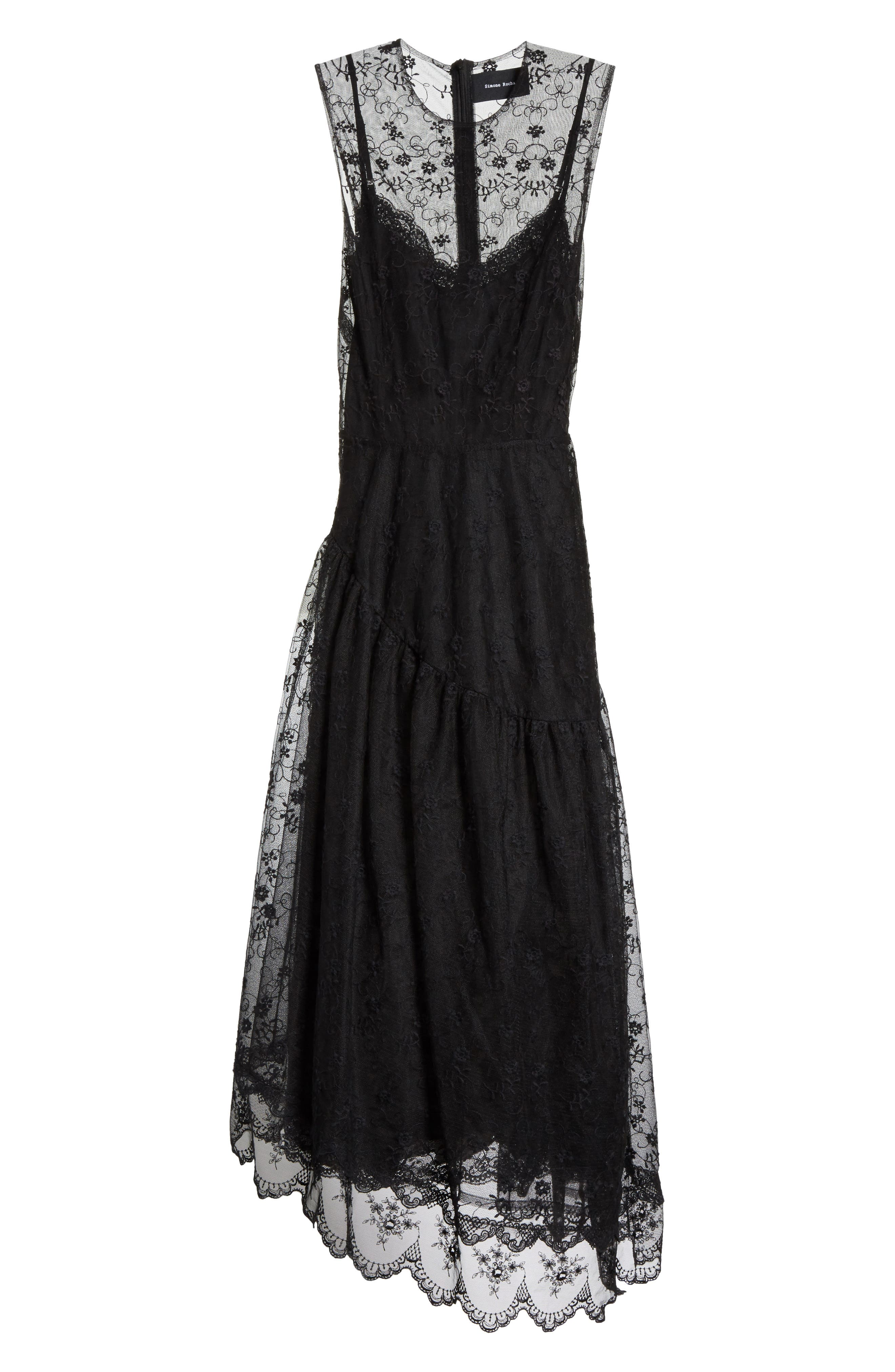 Asymmetrical Embroidered Tulle Dress,                             Alternate thumbnail 6, color,                             001