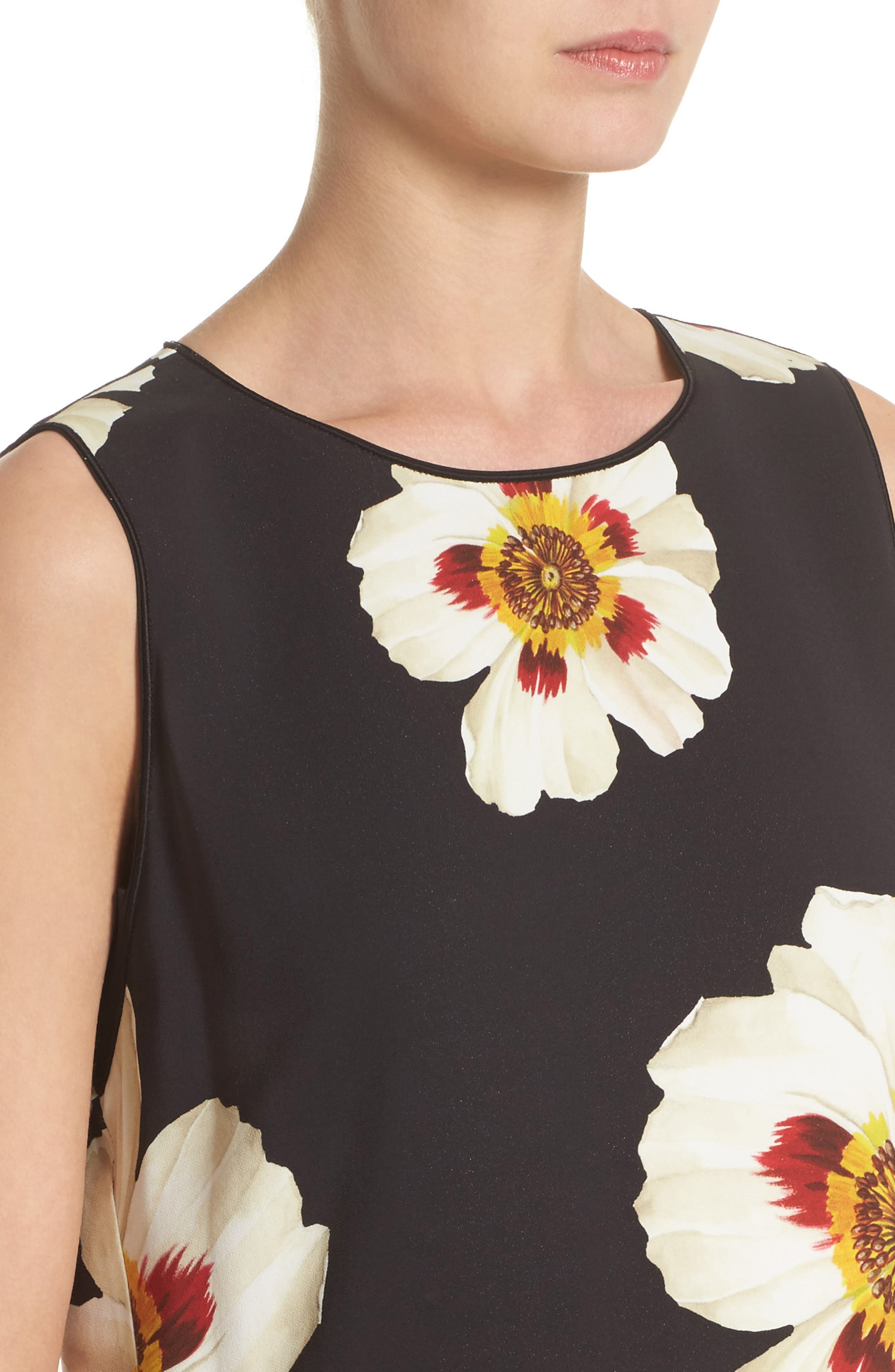 Romona Floral Fluid Cloth Dress,                             Alternate thumbnail 4, color,                             001
