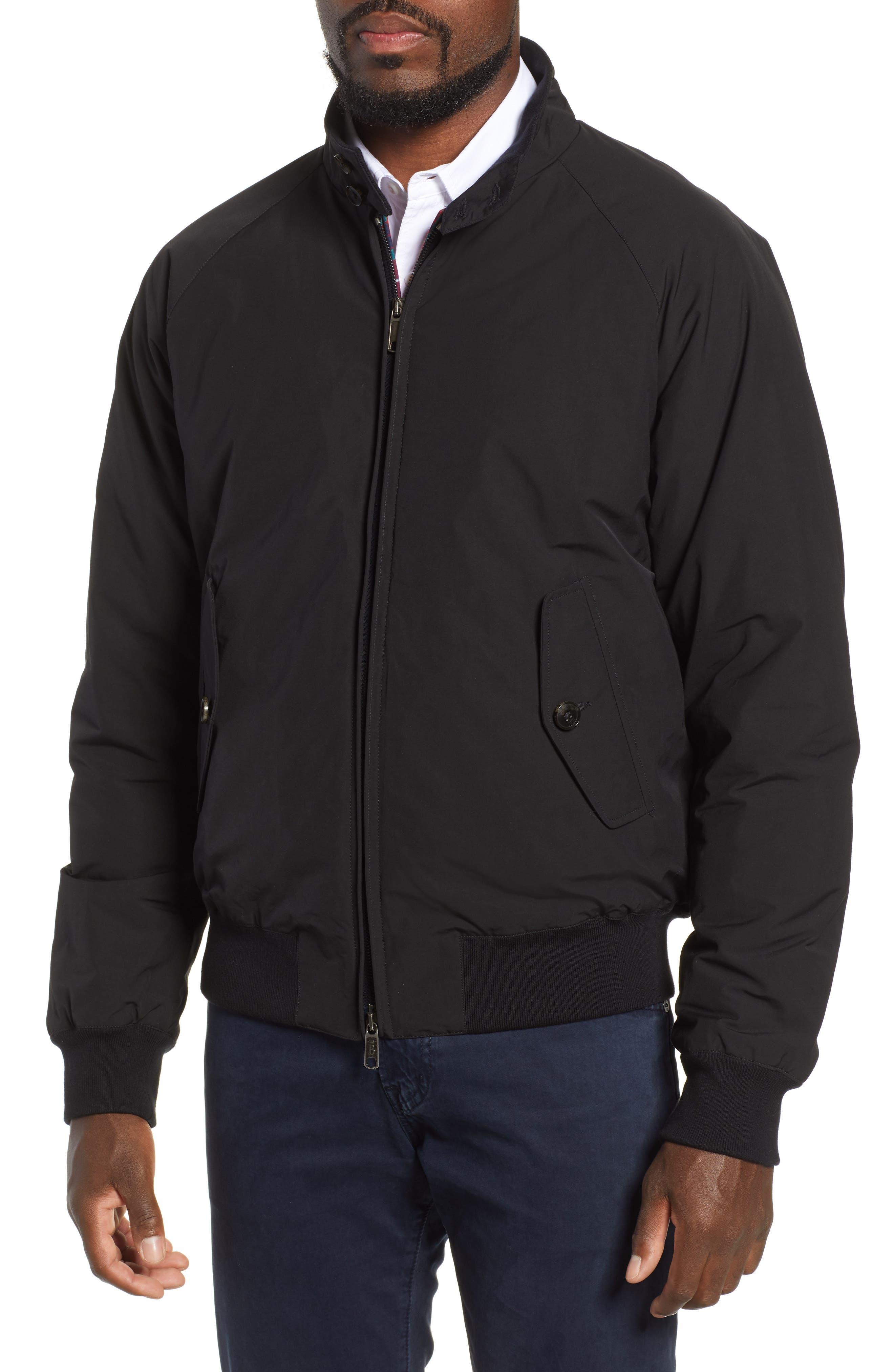 G9 Water Resistant Harrington Jacket,                             Alternate thumbnail 4, color,                             BLACK