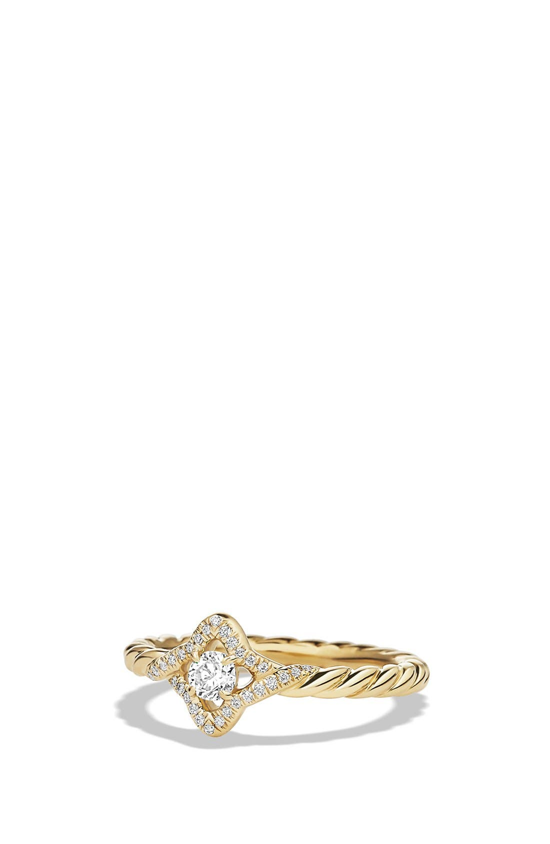 'Venetian Quatrefoil' Ring with Diamonds,                         Main,                         color, YELLOW GOLD