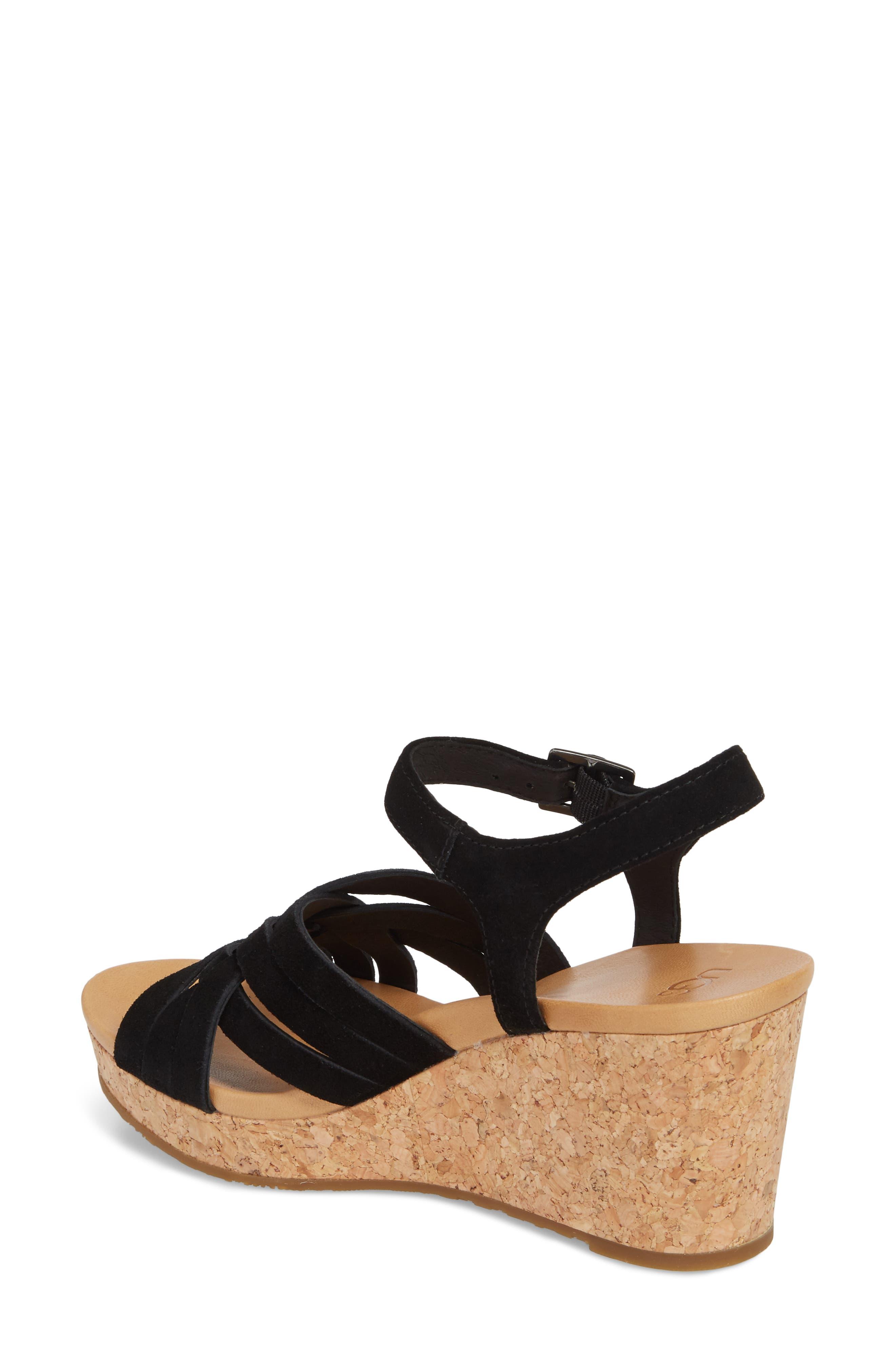 Uma Wedge Sandal,                             Alternate thumbnail 2, color,                             BLACK SUEDE