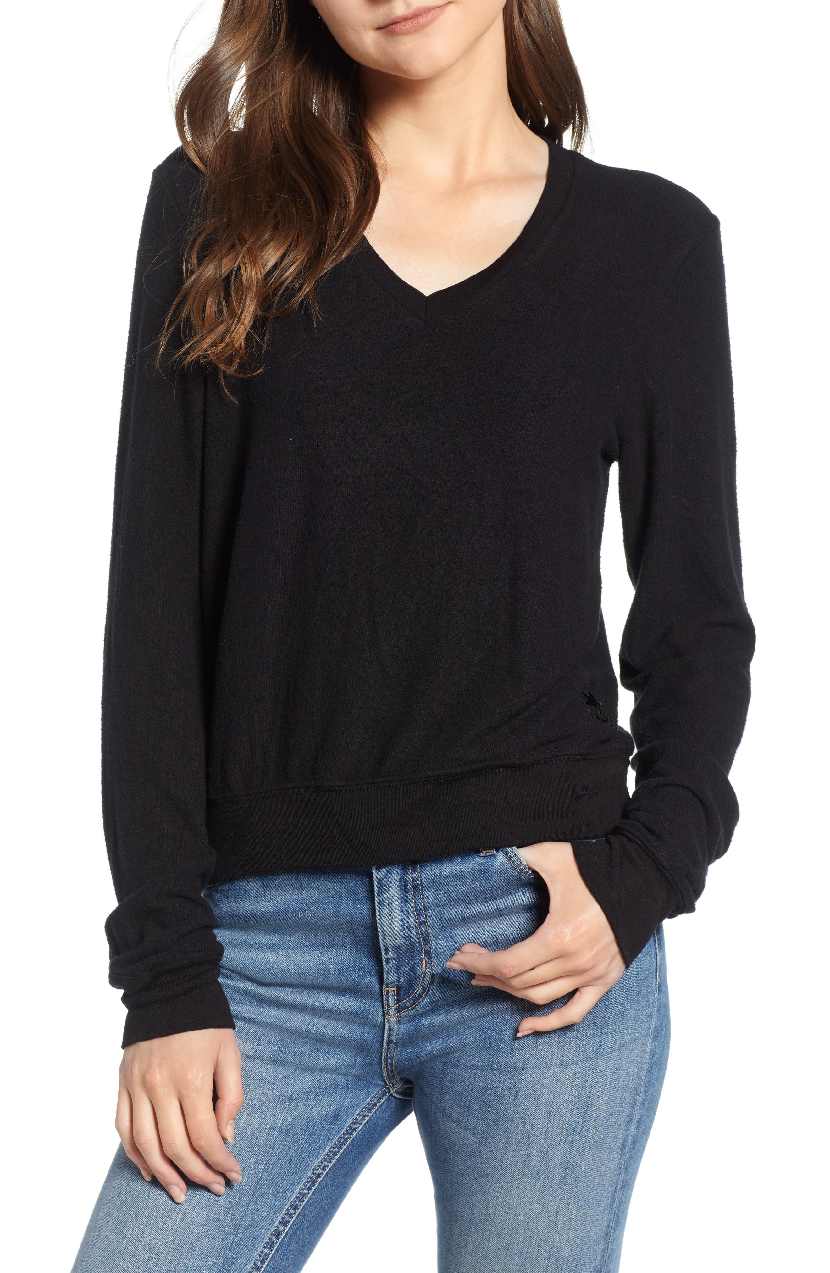 V-Neck Pullover,                         Main,                         color, JET BLACK
