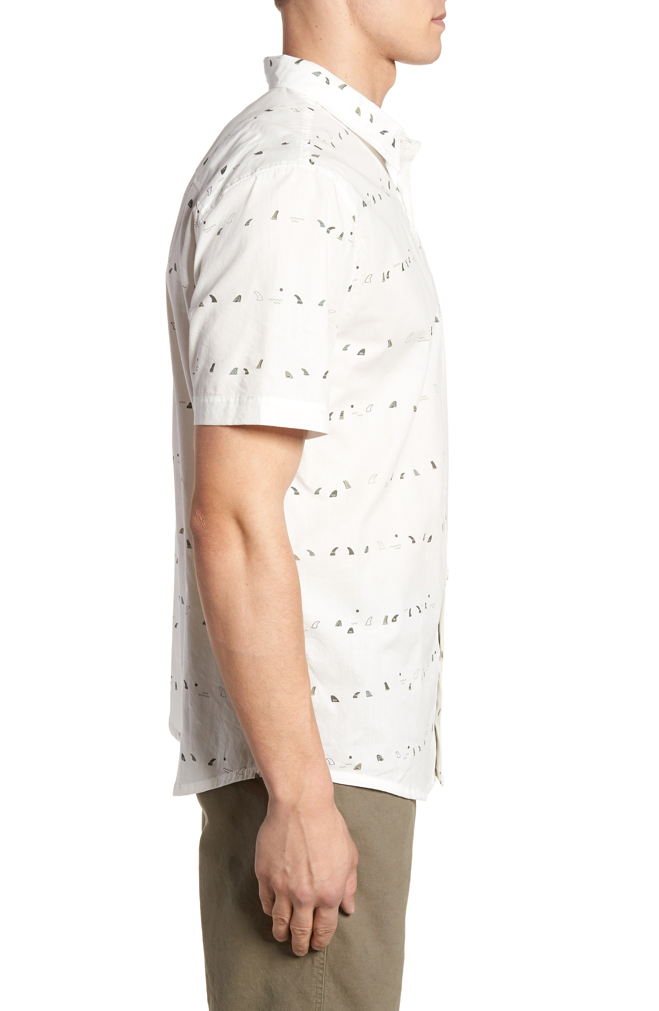 Single Fin Regular Fit Short Sleeve Sport Shirt,                             Alternate thumbnail 3, color,                             100