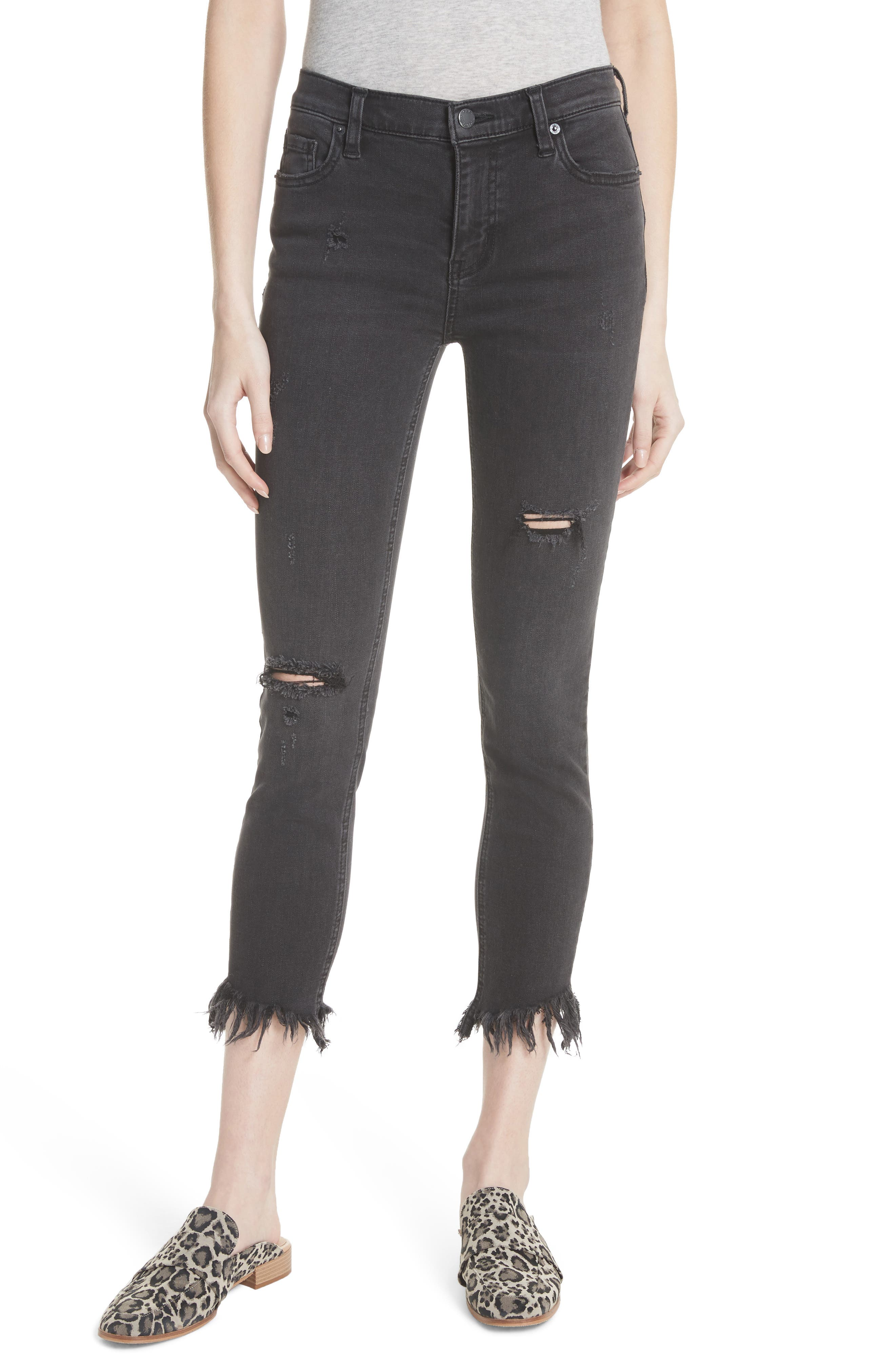 We the Free by Free People Great Heights Frayed Skinny Jeans,                             Main thumbnail 1, color,                             001