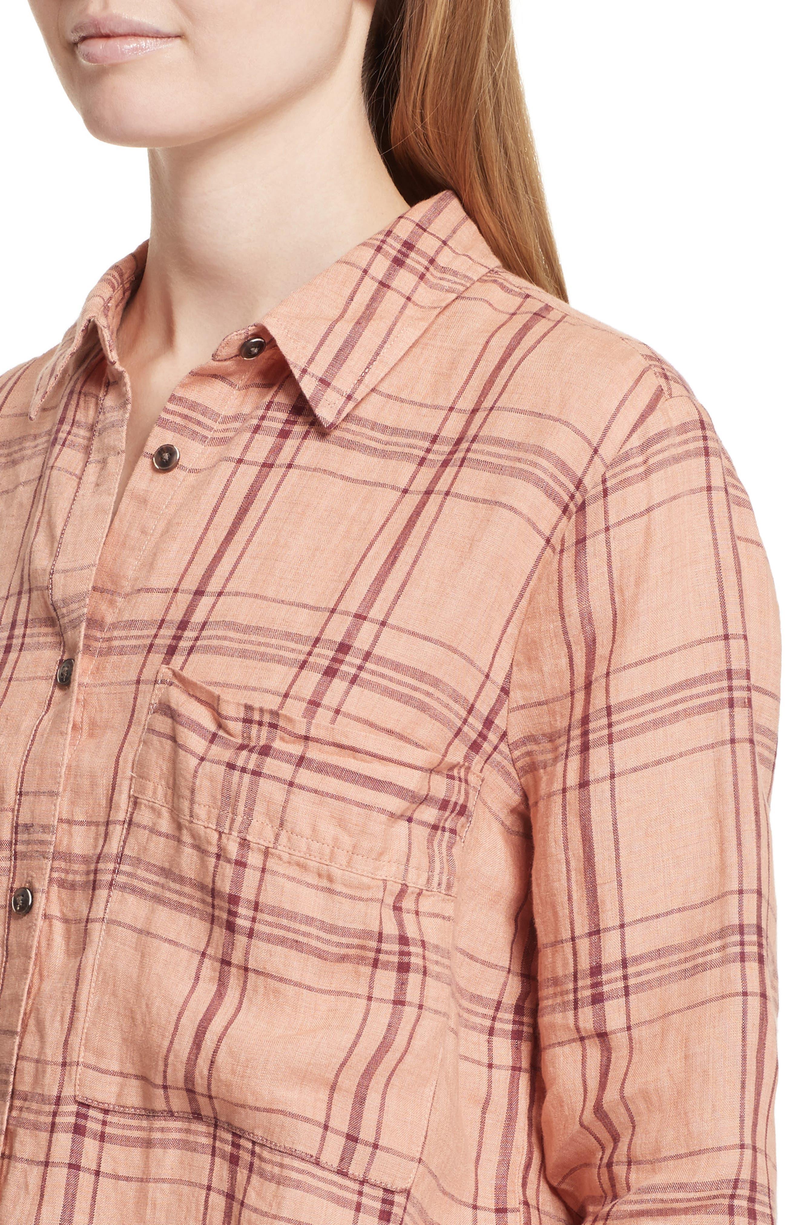 No Limits Plaid Linen Shirt,                             Alternate thumbnail 8, color,