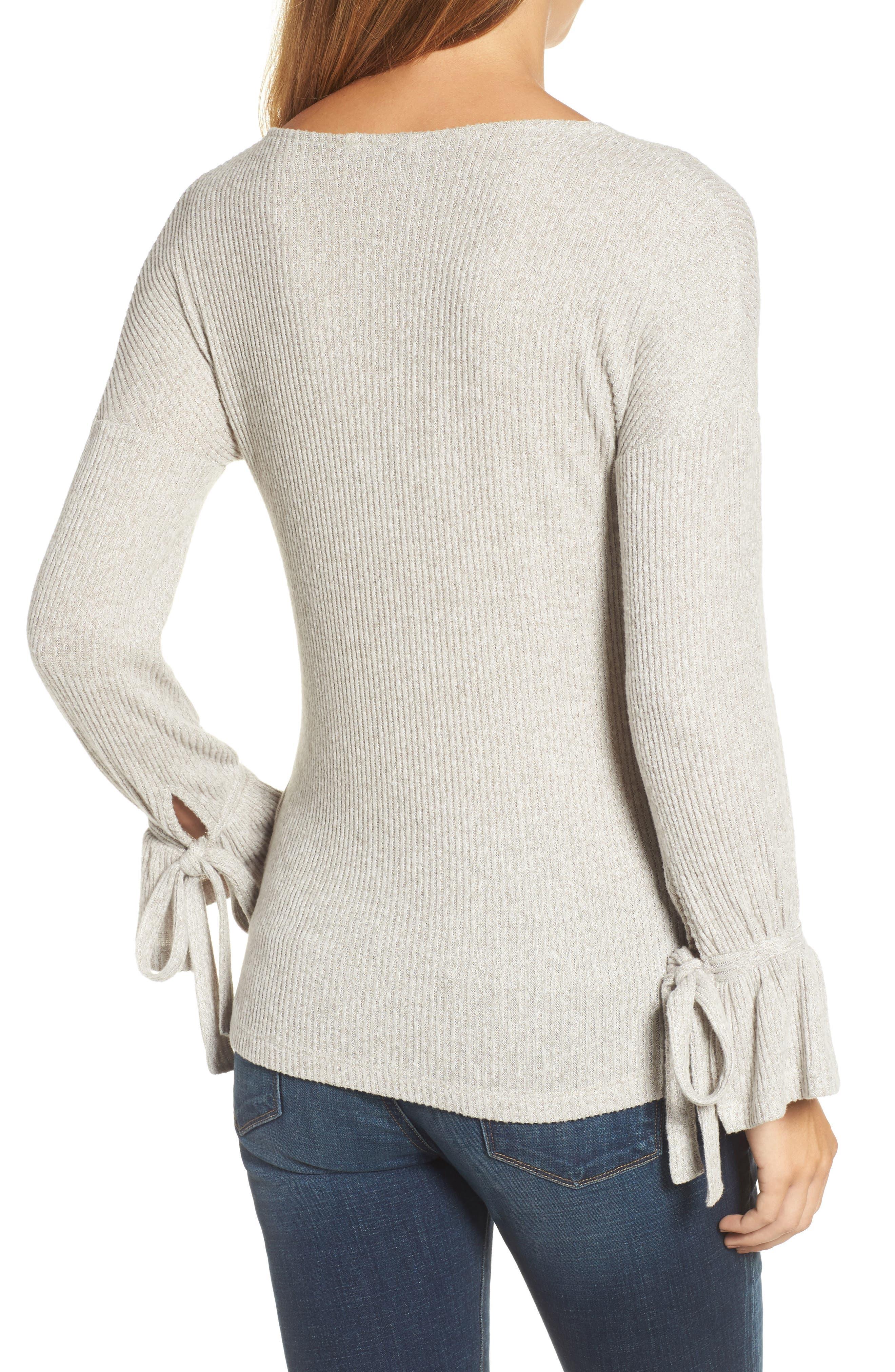 Tie Sleeve Rib Pullover,                             Alternate thumbnail 2, color,                             030