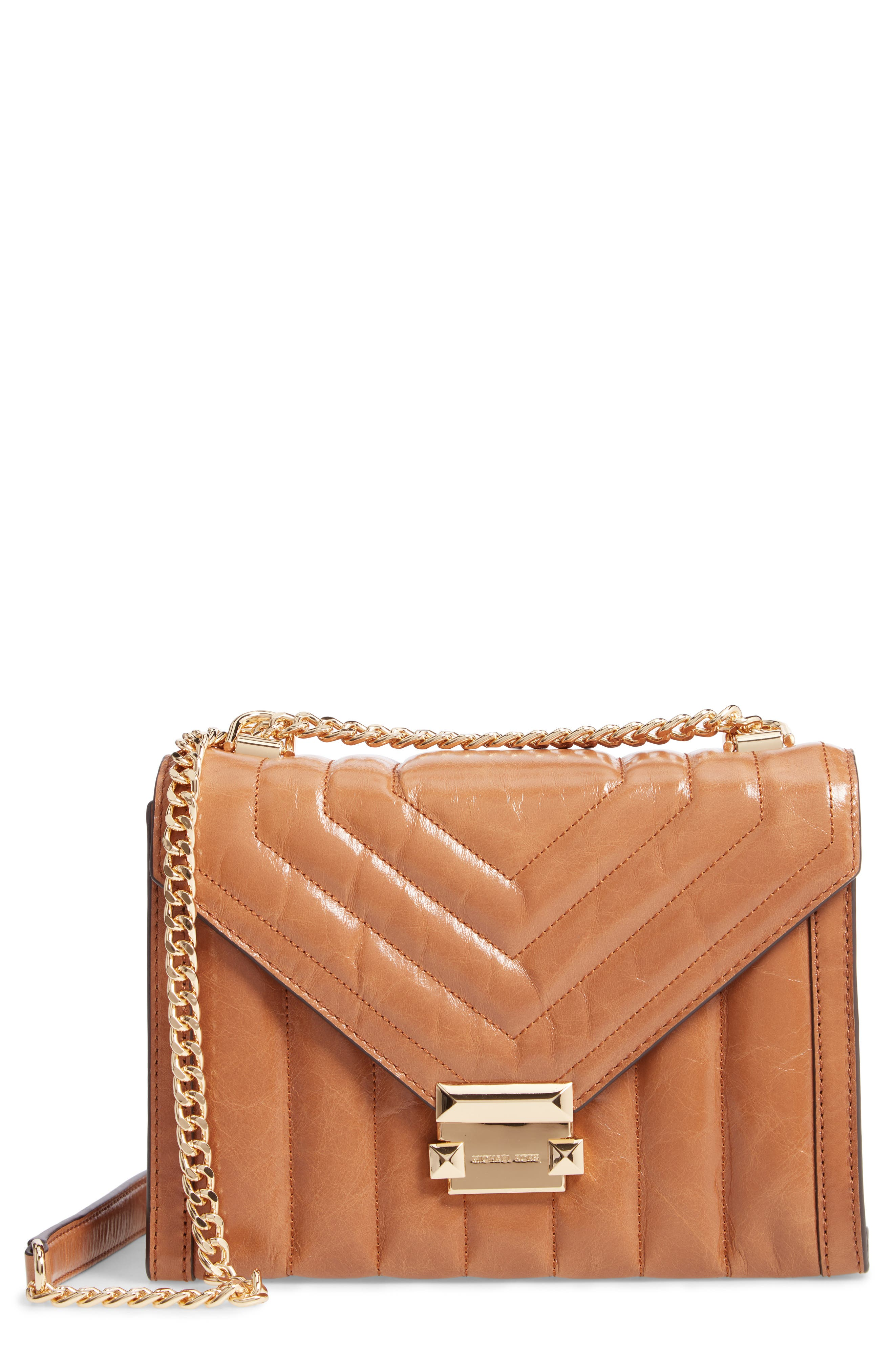 Large Quilted Leather Shoulder Bag - Brown in Acorn
