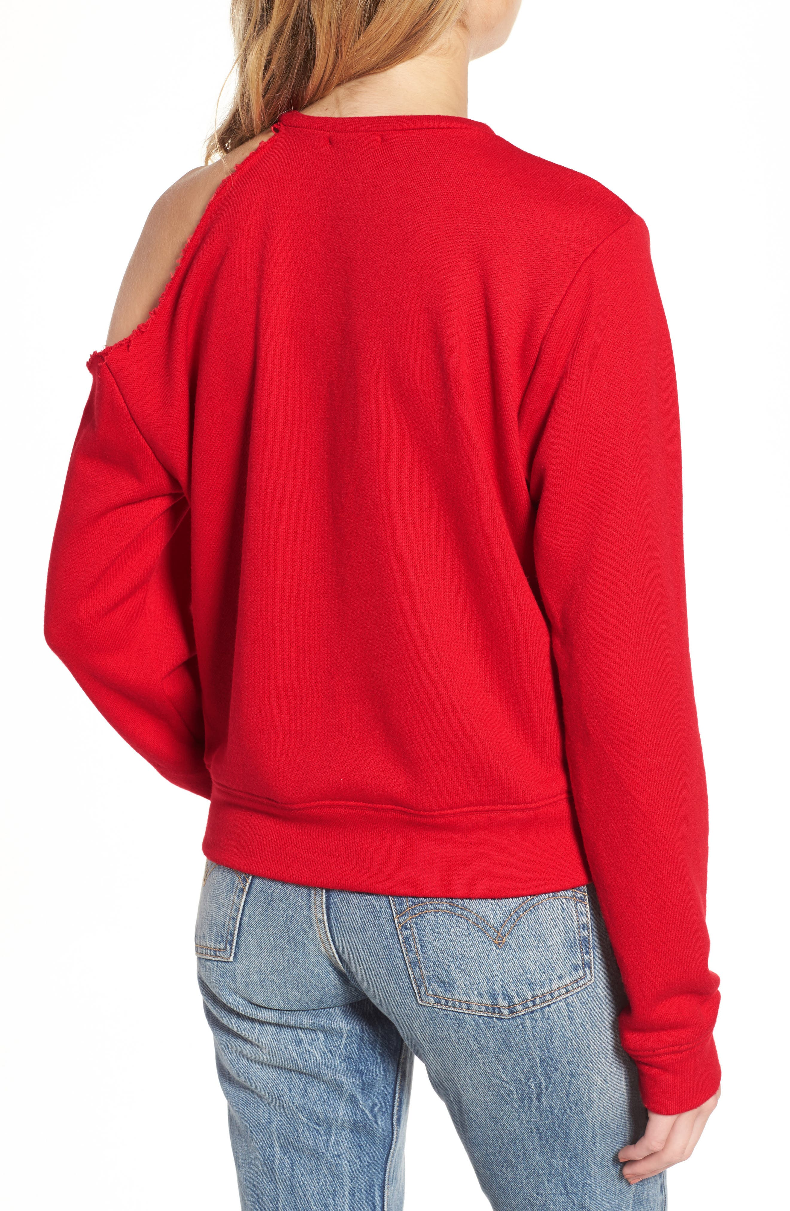 Mikko Distressed Cold Shoulder Sweatshirt,                             Alternate thumbnail 2, color,                             621