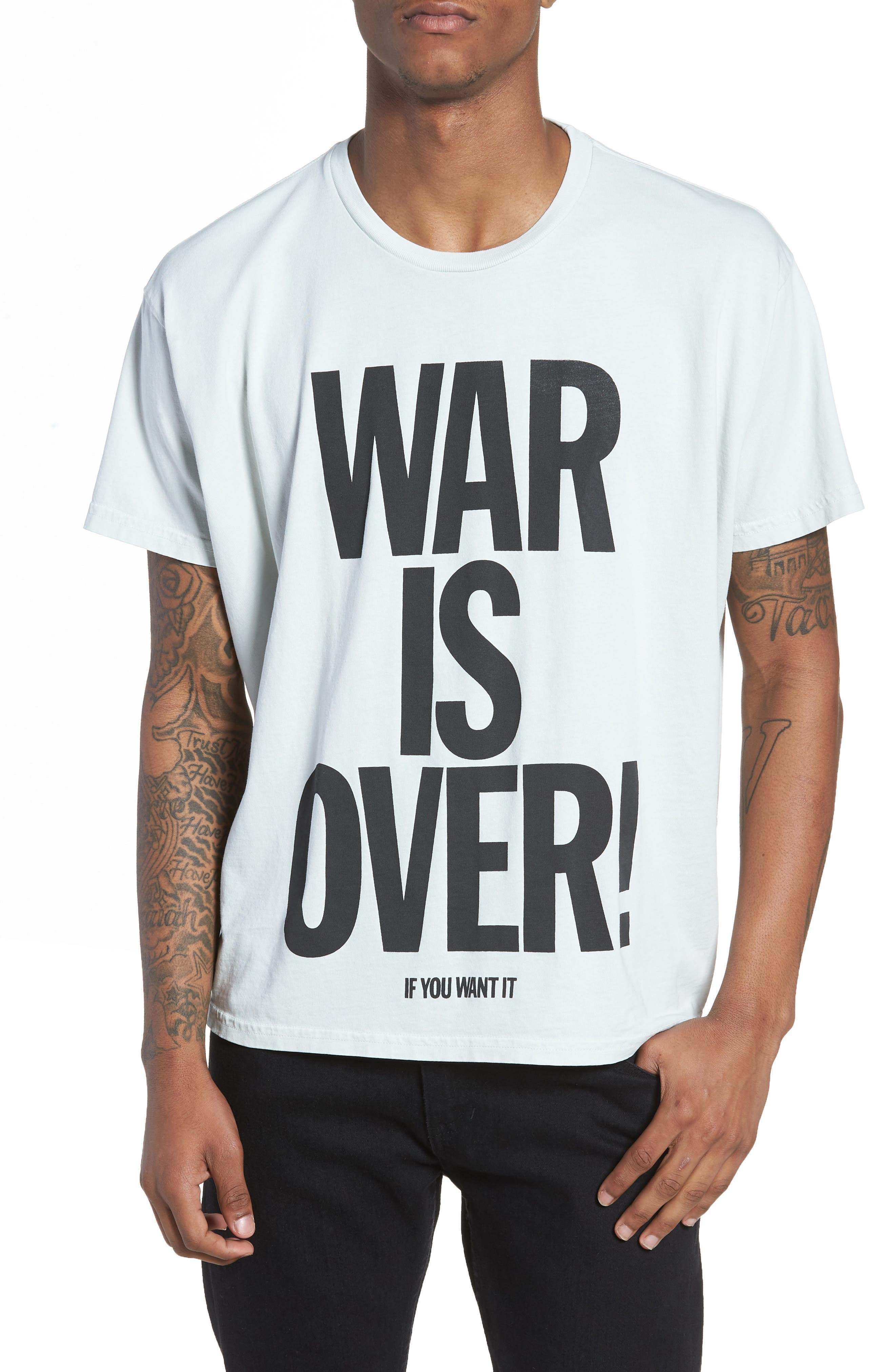 War Is Over T-Shirt,                             Main thumbnail 1, color,                             WHITE