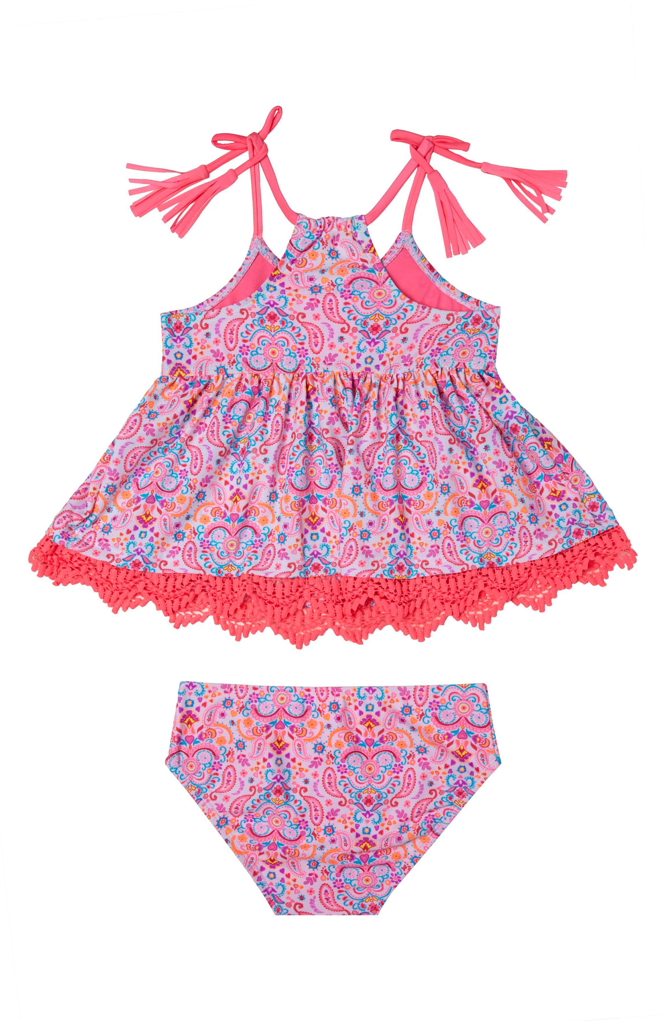 Pretty Paisley Two-Piece Swimsuit,                             Main thumbnail 1, color,                             100