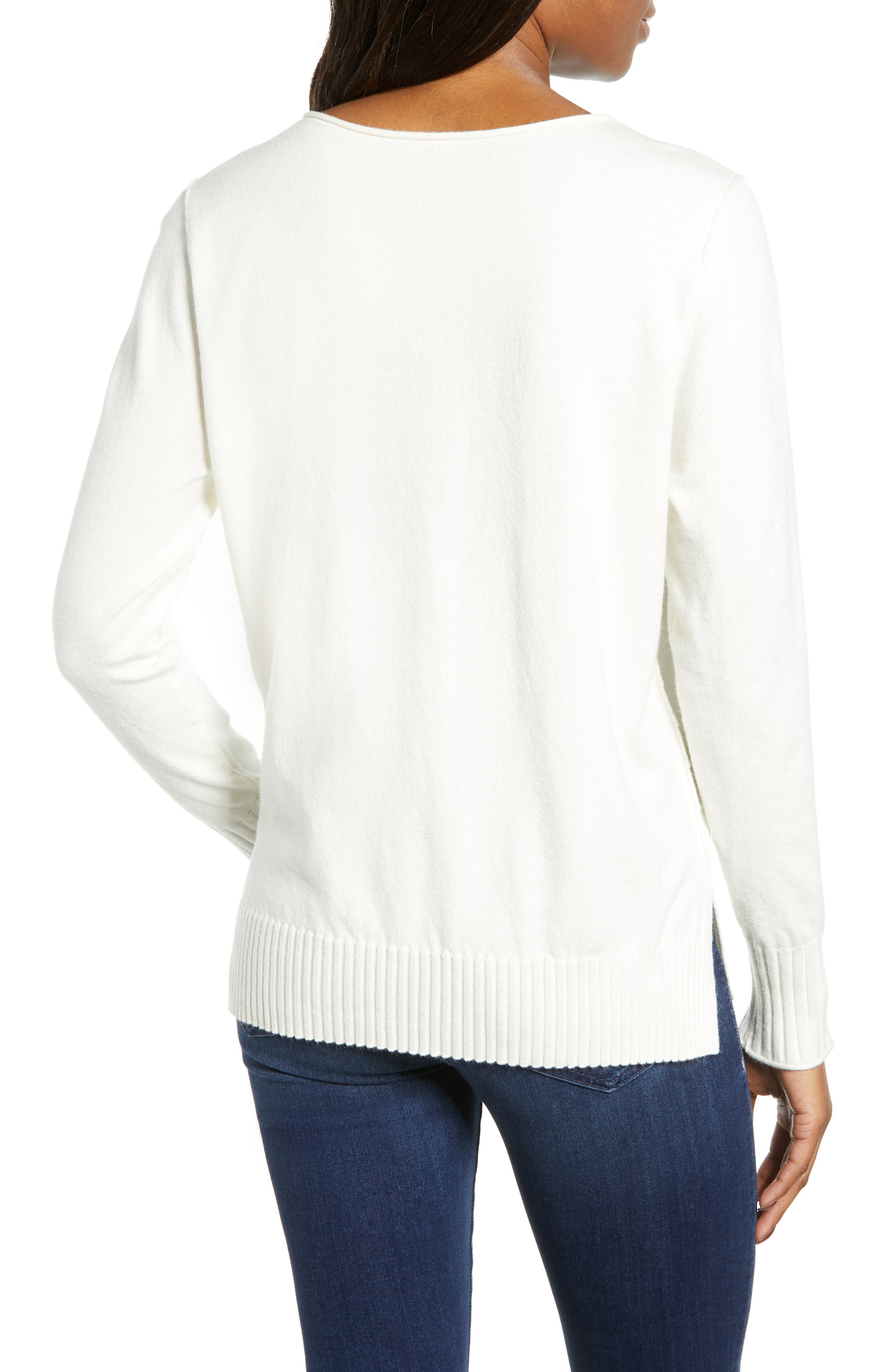 CASLON<SUP>®</SUP>,                             Side Slit Sweater,                             Alternate thumbnail 2, color,                             IVORY