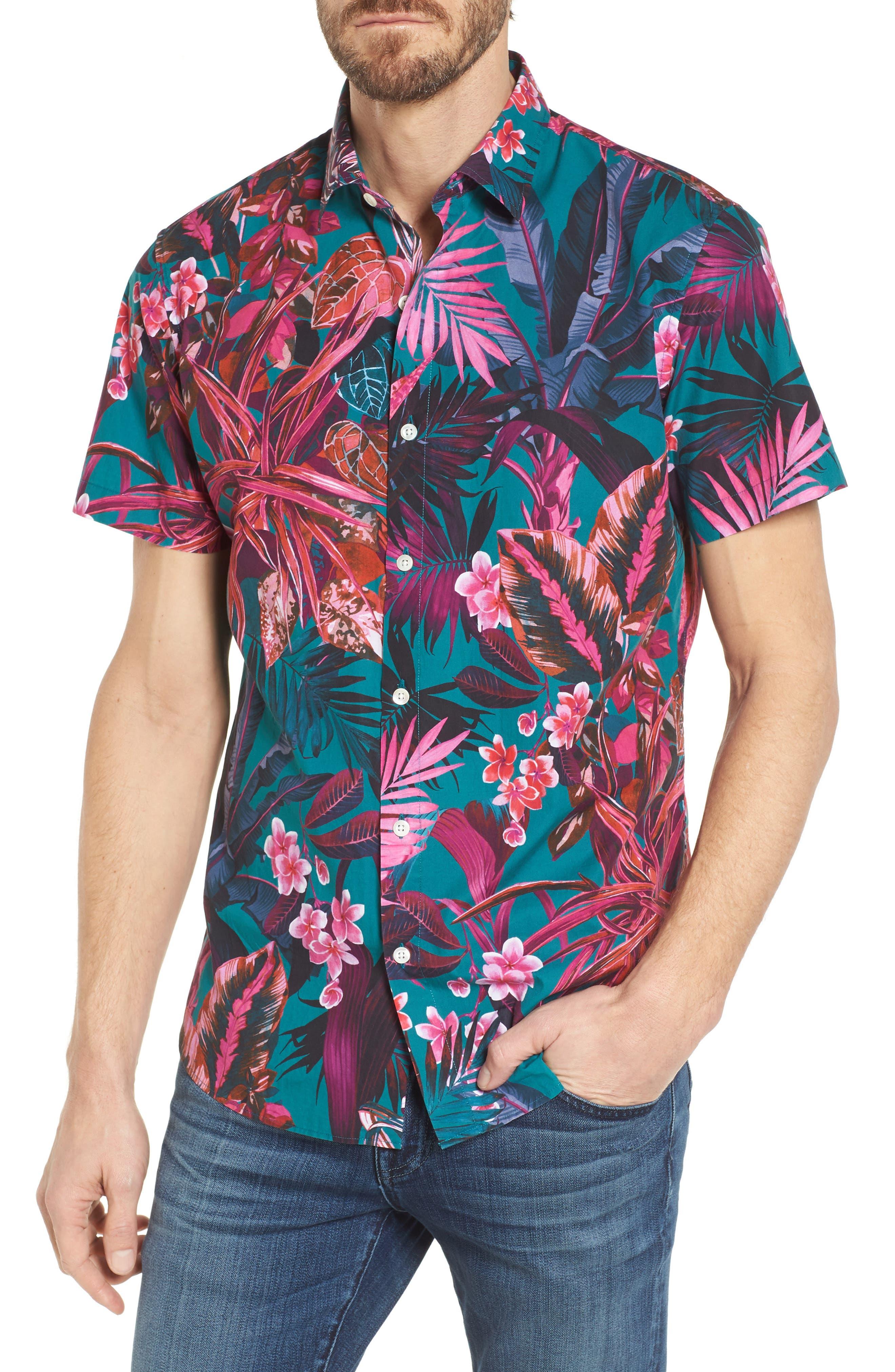 Premium Slim Fit Short Sleeve Print Sport Shirt,                         Main,                         color,