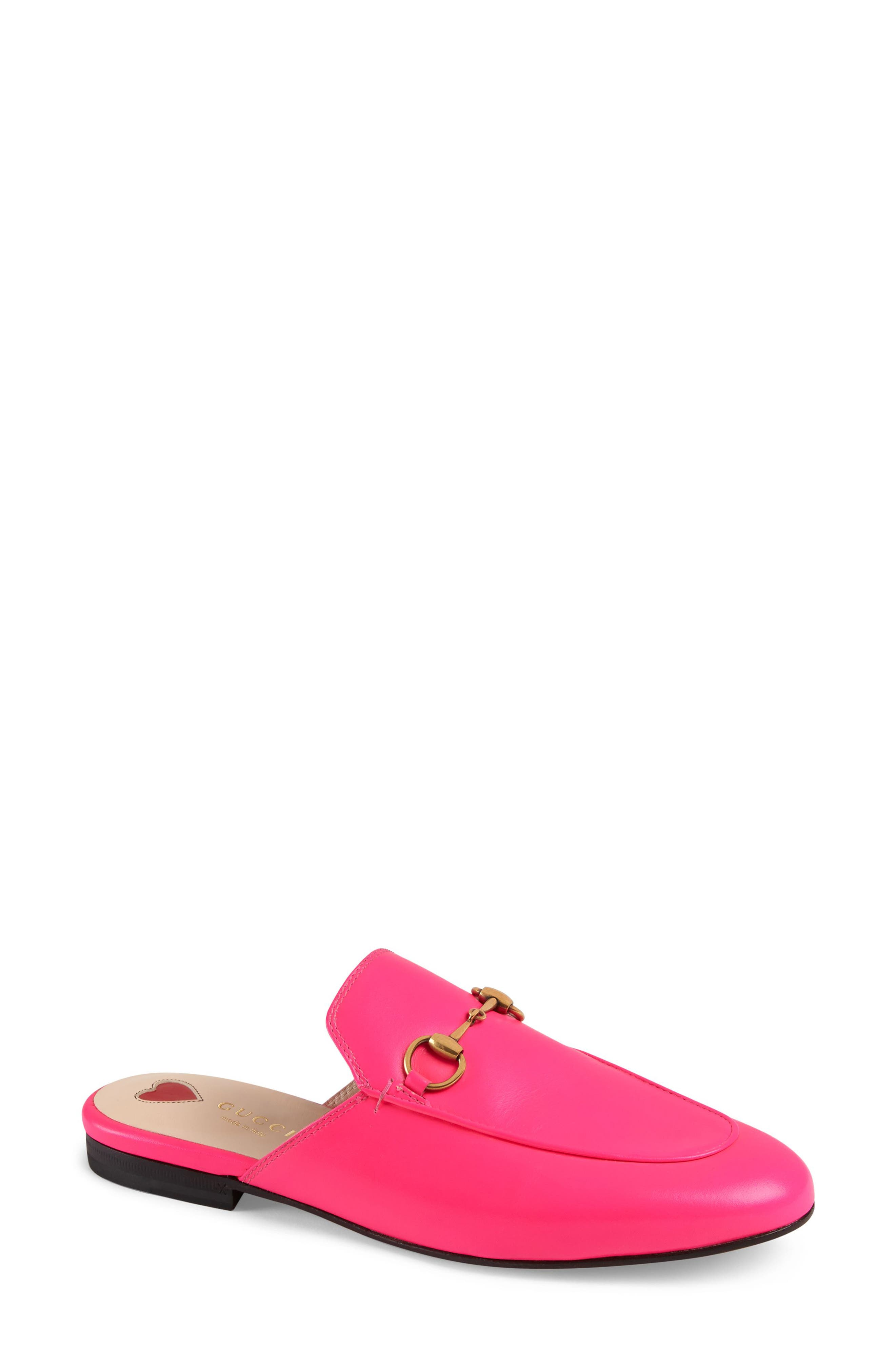 Neon Leather Horsebit Mules in Pink