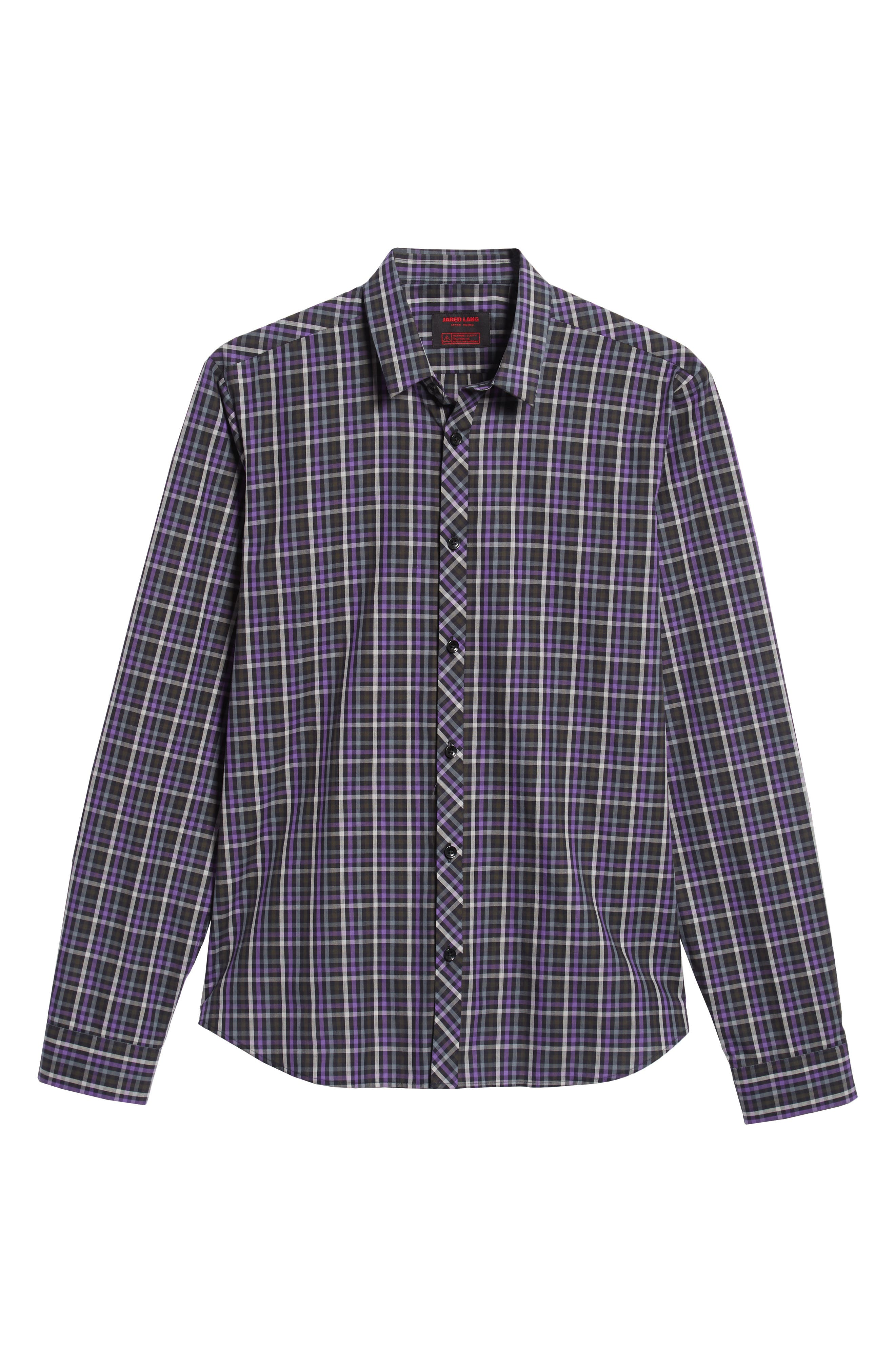 Trim Fit Sport Shirt,                             Alternate thumbnail 5, color,                             PURPLE - BLACK MULTI CHECK