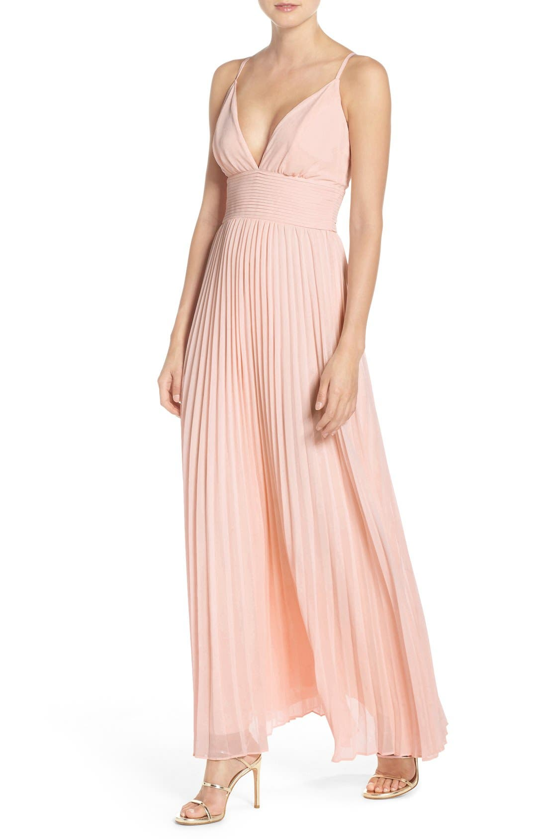 Plunging V-Neck Pleat Georgette Gown,                             Alternate thumbnail 27, color,