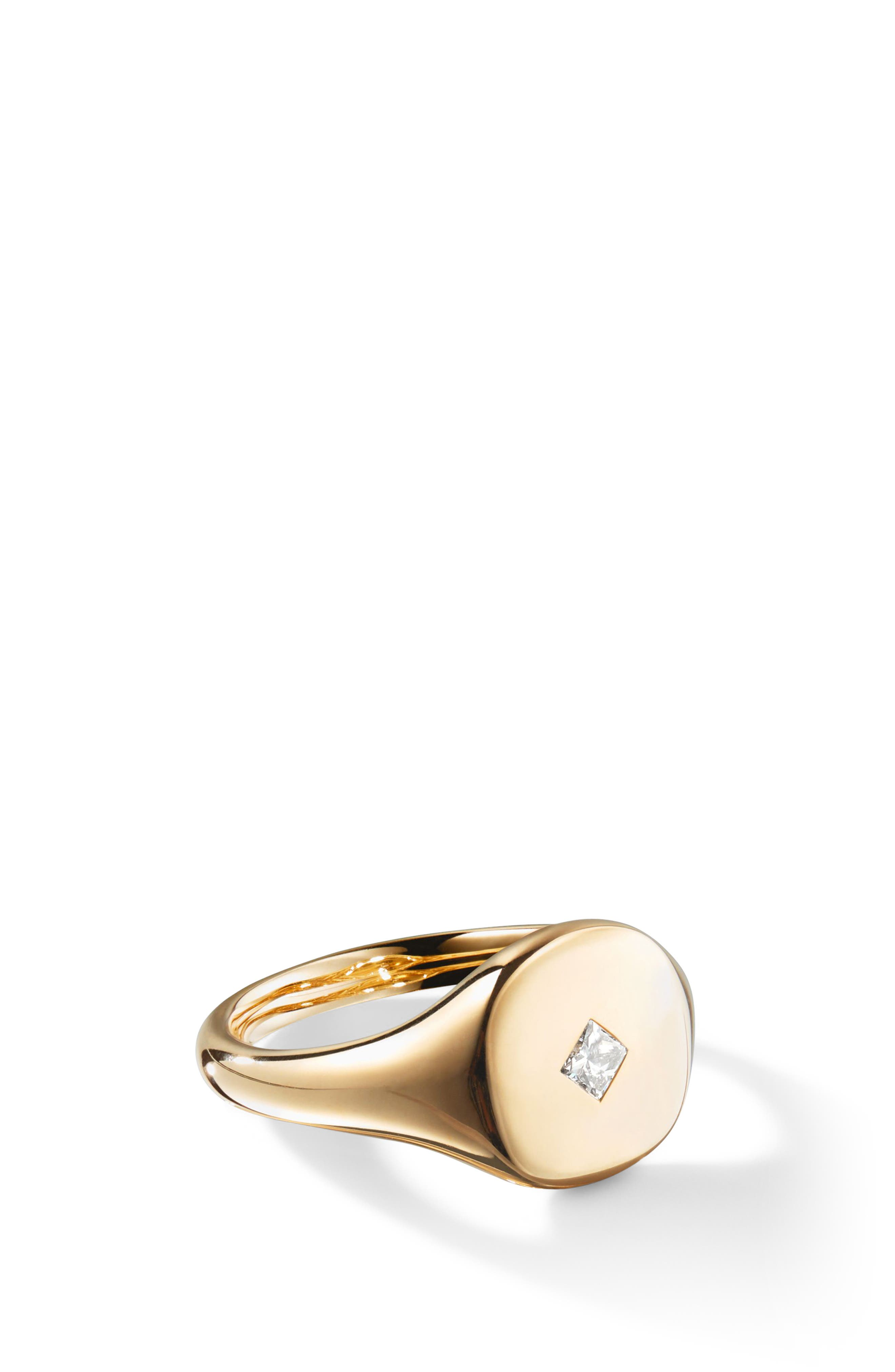 Cable Collectibles Mini Pinky Ring in 18K Gold with Princess Cut Diamond,                             Alternate thumbnail 2, color,                             GOLD/ DIAMOND