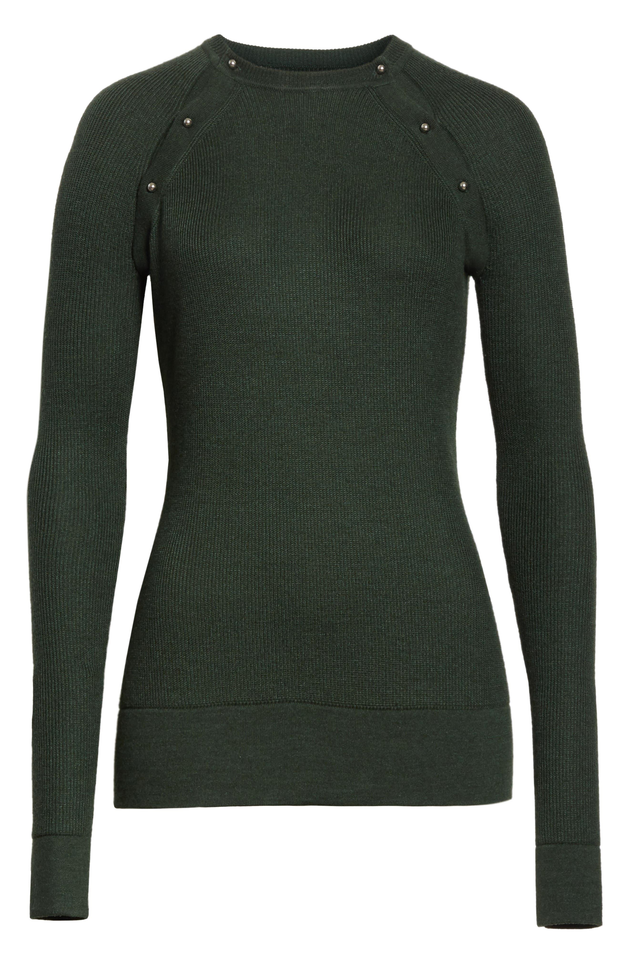 Button Seam Silk & Merino Wool Sweater,                             Alternate thumbnail 6, color,                             368