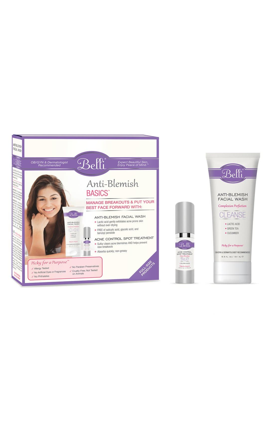 Anti-Blemish Basics with Anti-Blemish Facial Wash (6.5 oz.) & Acne Control Spot Treatment,                             Main thumbnail 1, color,                             WHITE
