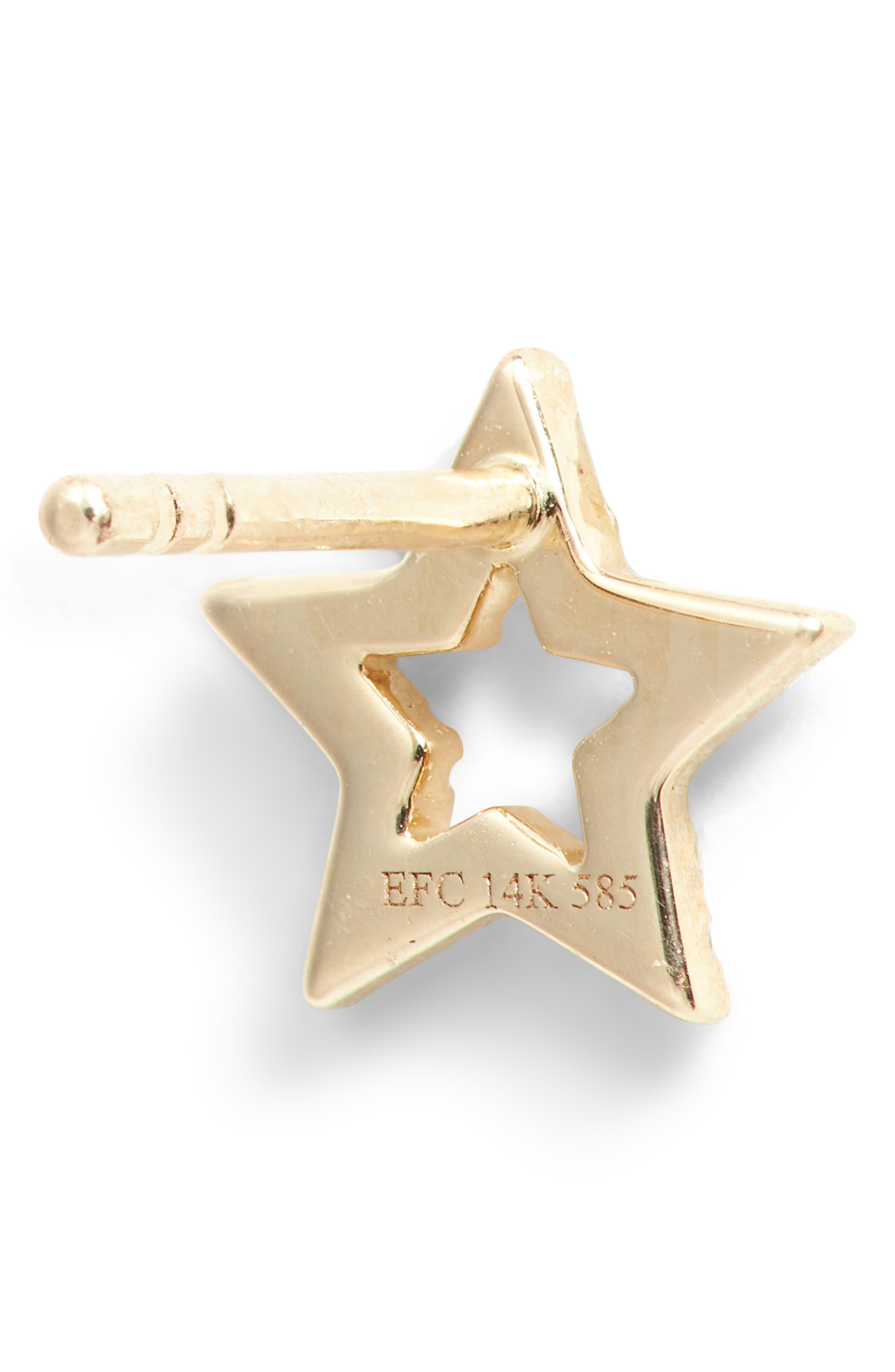 Open Star Diamond Stud Earrings,                             Alternate thumbnail 3, color,                             YELLOW GOLD