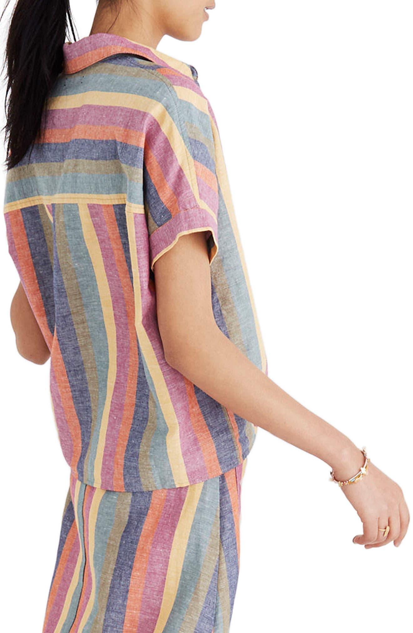 Rainbow Stripe Tie Front Shirt,                             Main thumbnail 1, color,                             300