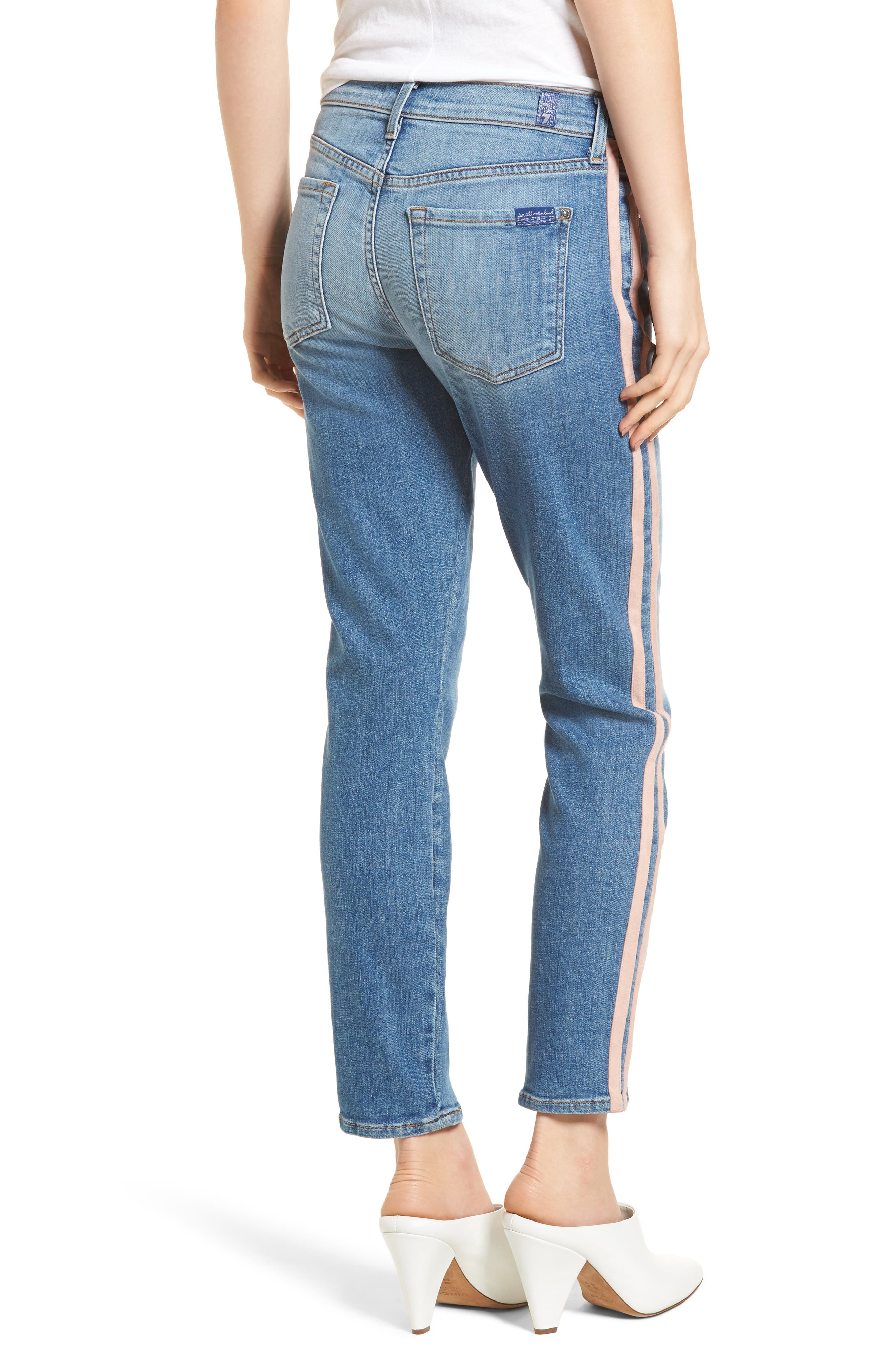 Roxanne Faux Suede Stripe Ankle Skinny Jeans,                             Alternate thumbnail 2, color,                             400