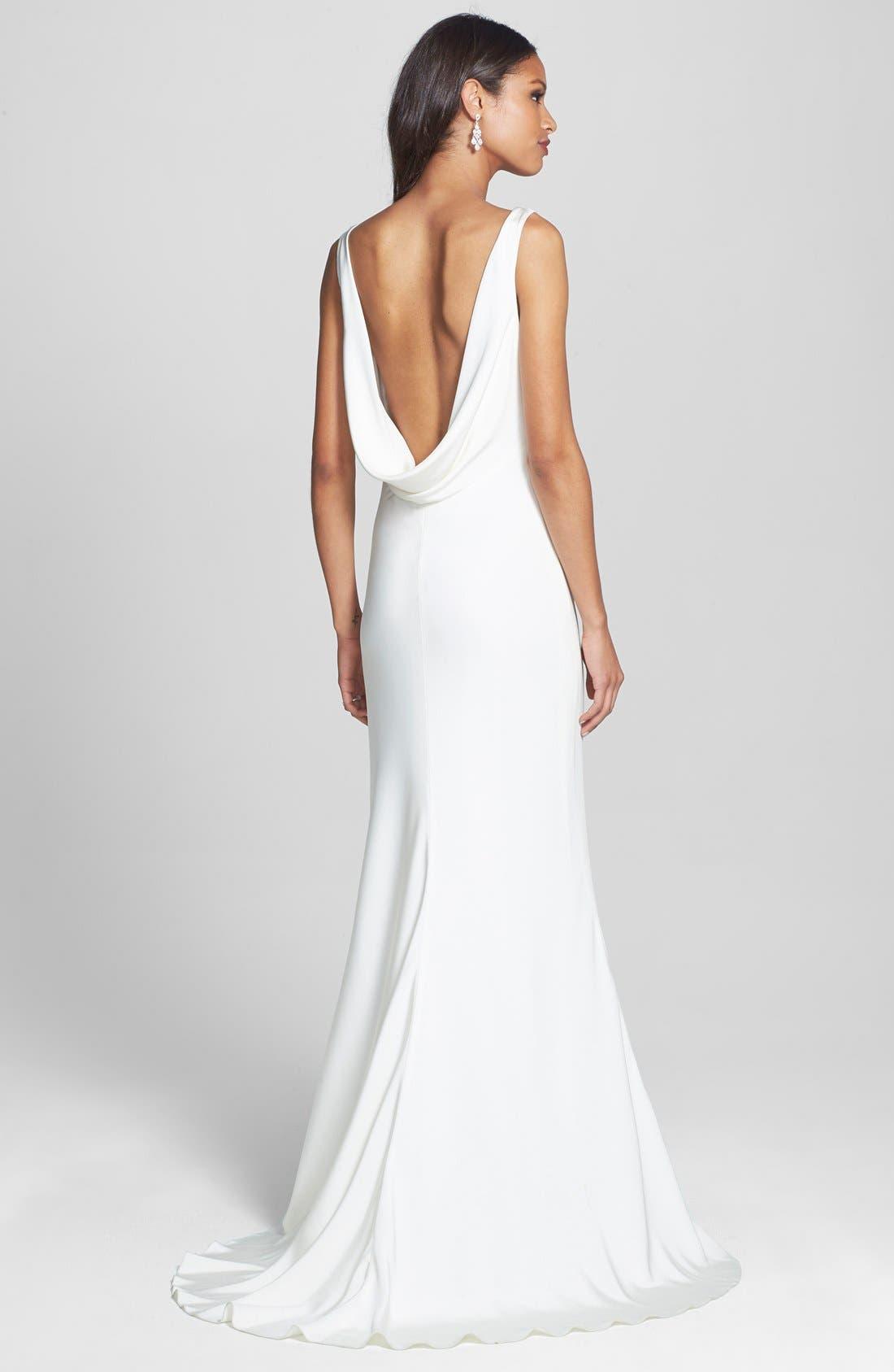 Draped Neck Silk Crepe Wedding Dress,                             Alternate thumbnail 4, color,                             900