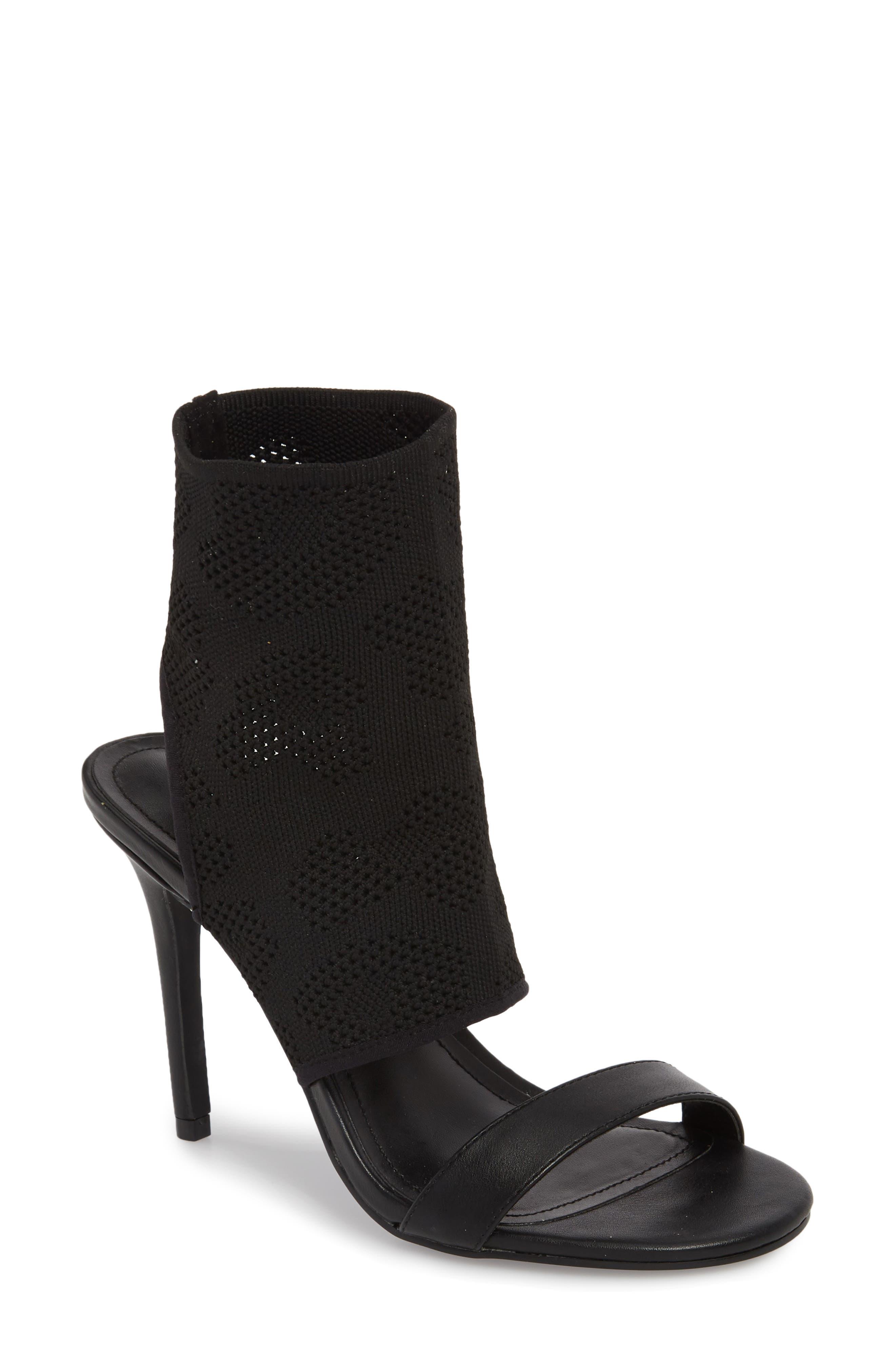 Remote Sock Cuff Sandal,                             Main thumbnail 1, color,                             BLACK FABRIC
