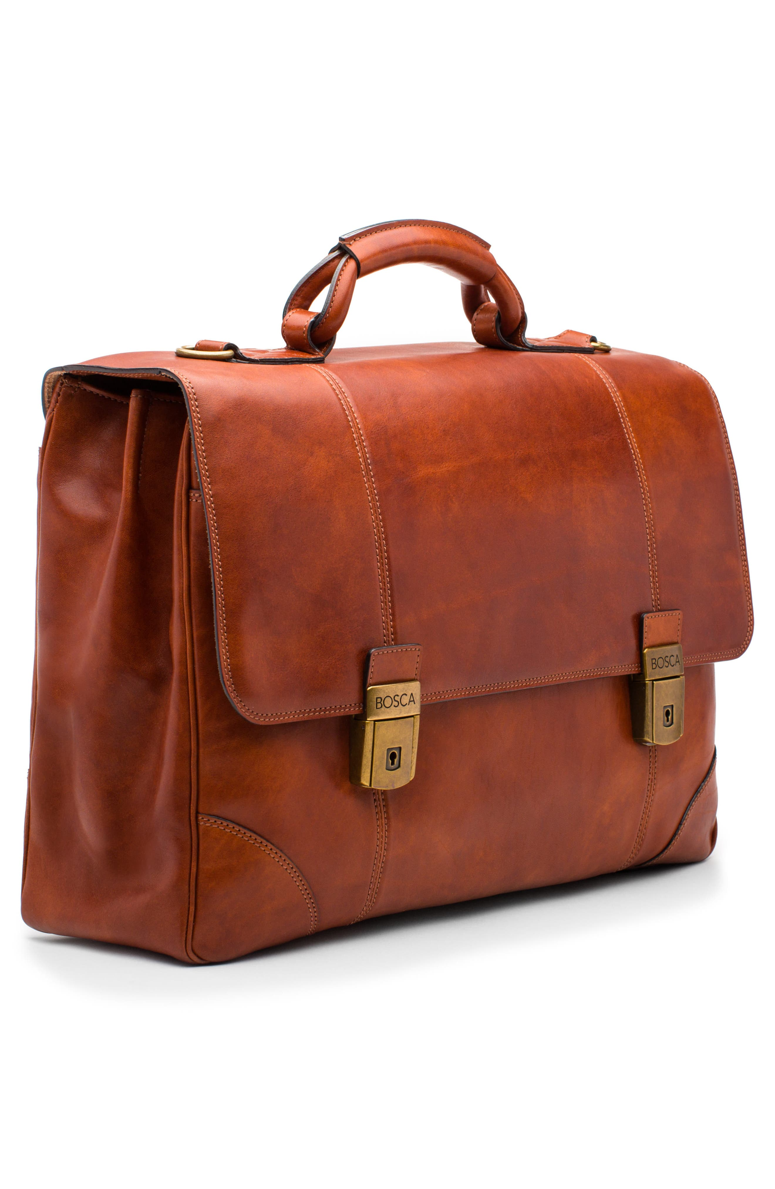 Dolce Leather Briefcase,                             Alternate thumbnail 7, color,                             AMBER