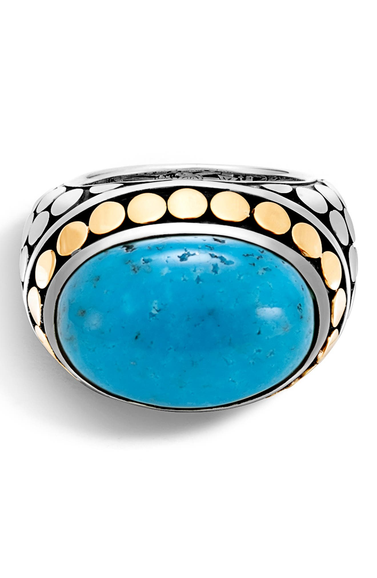 JOHN HARDY,                             Dot Silver & Turquoise Dome Ring,                             Alternate thumbnail 4, color,                             SILVER/ GOLD/ TURQUOISE