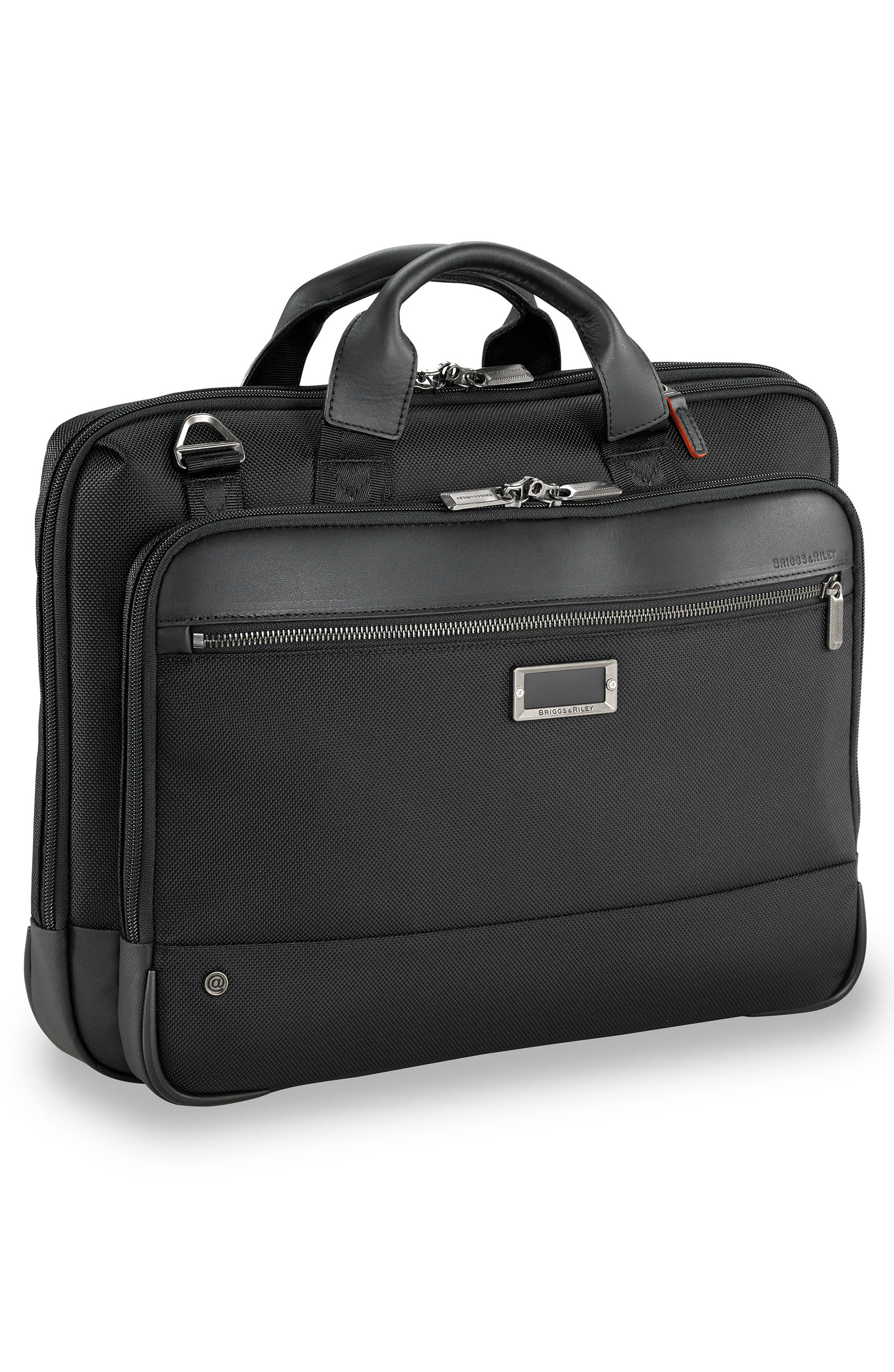 BRIGGS & RILEY,                             @work Slim Briefcase,                             Alternate thumbnail 3, color,                             BLACK