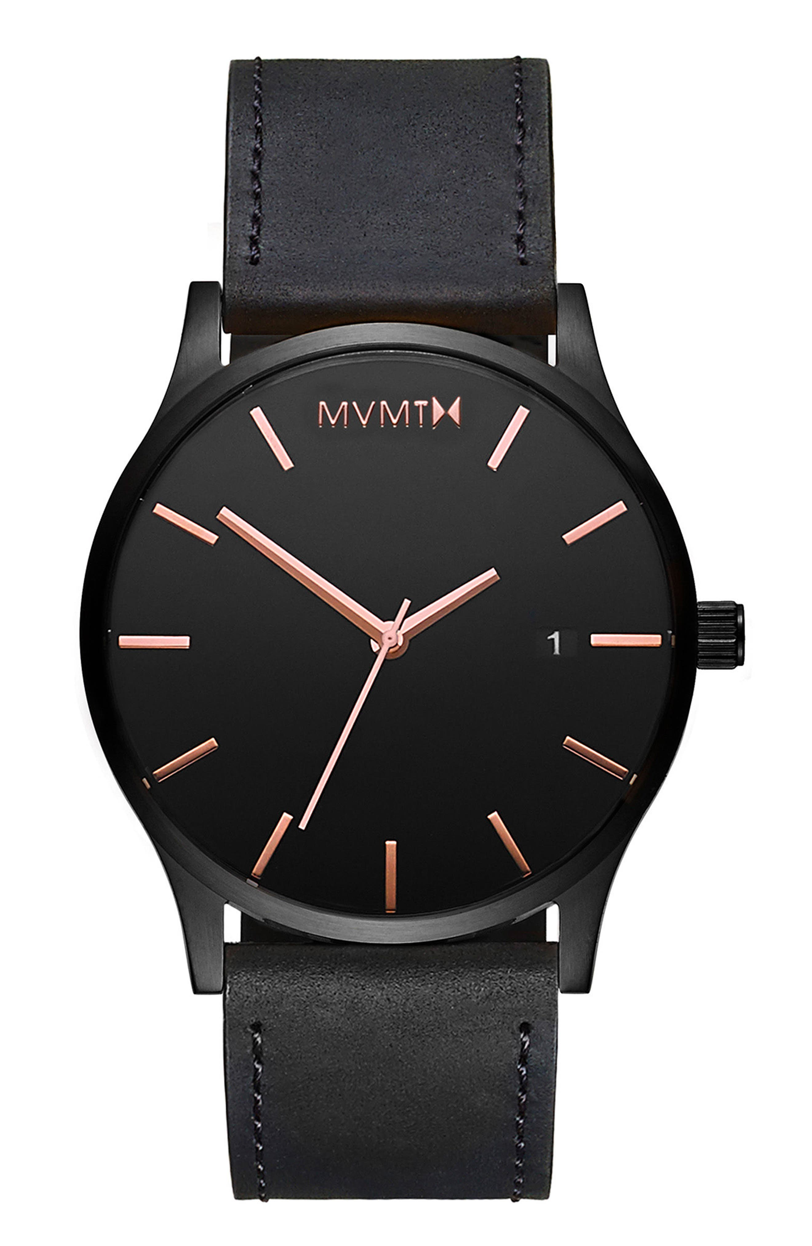 The Classic Leather Strap Watch, 45mm,                             Main thumbnail 1, color,                             ALL BLACK/ ROSE GOLD