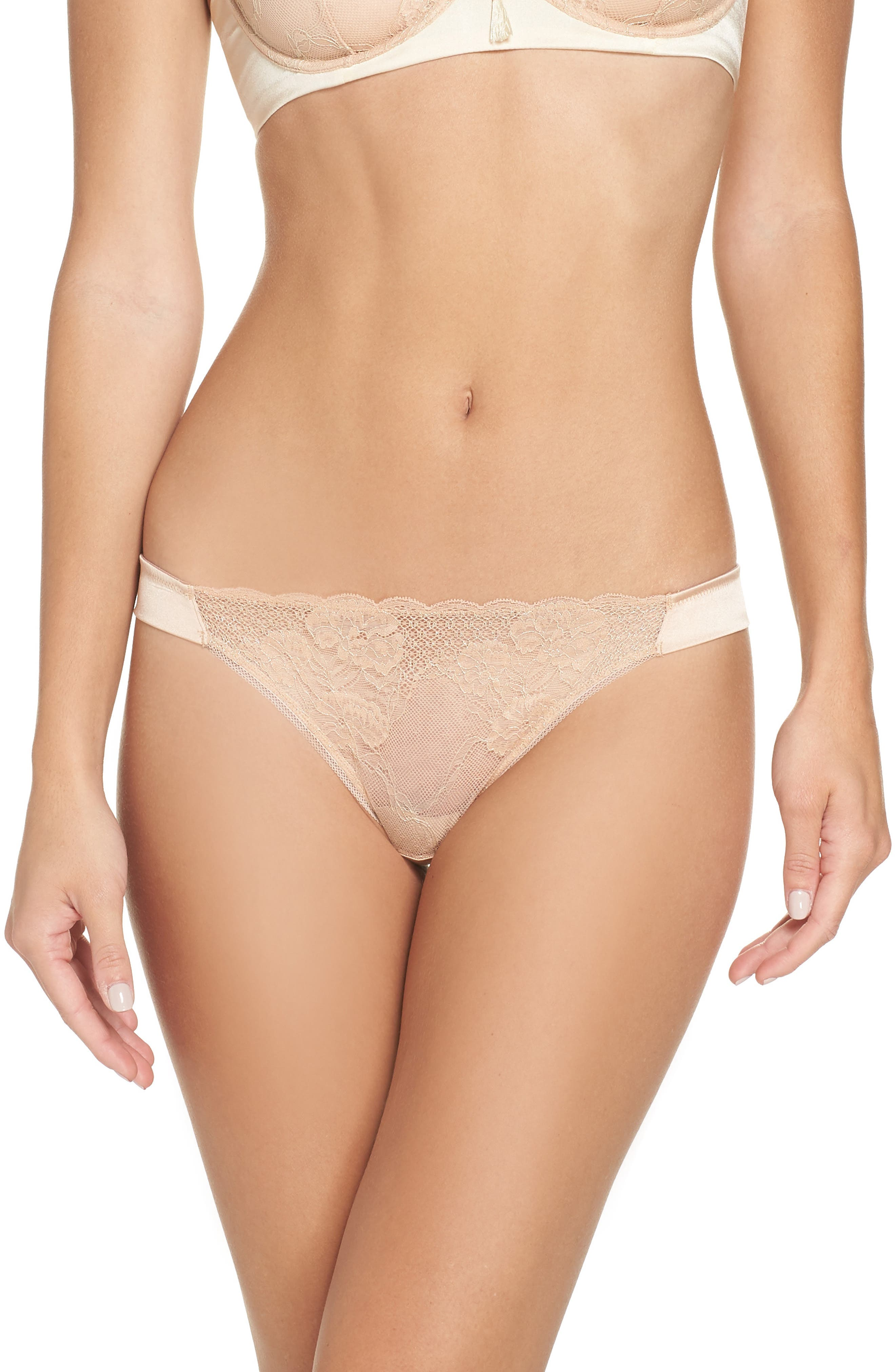 ADDICTION NOUVELLE LINGERIE Lace & Satin Brazilian Panties in Nude