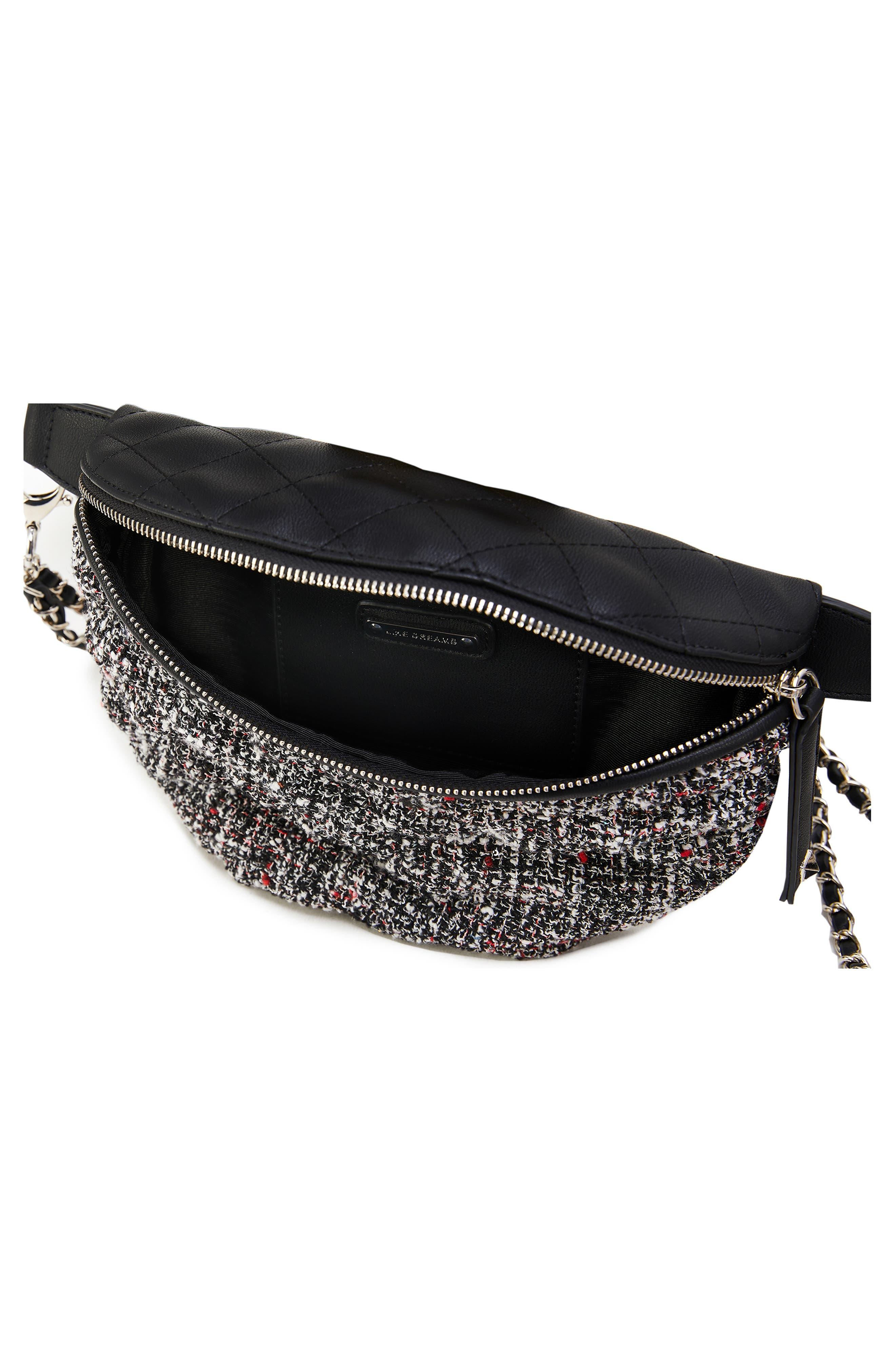 Tweed Belt Bag,                             Alternate thumbnail 3, color,                             BLACK